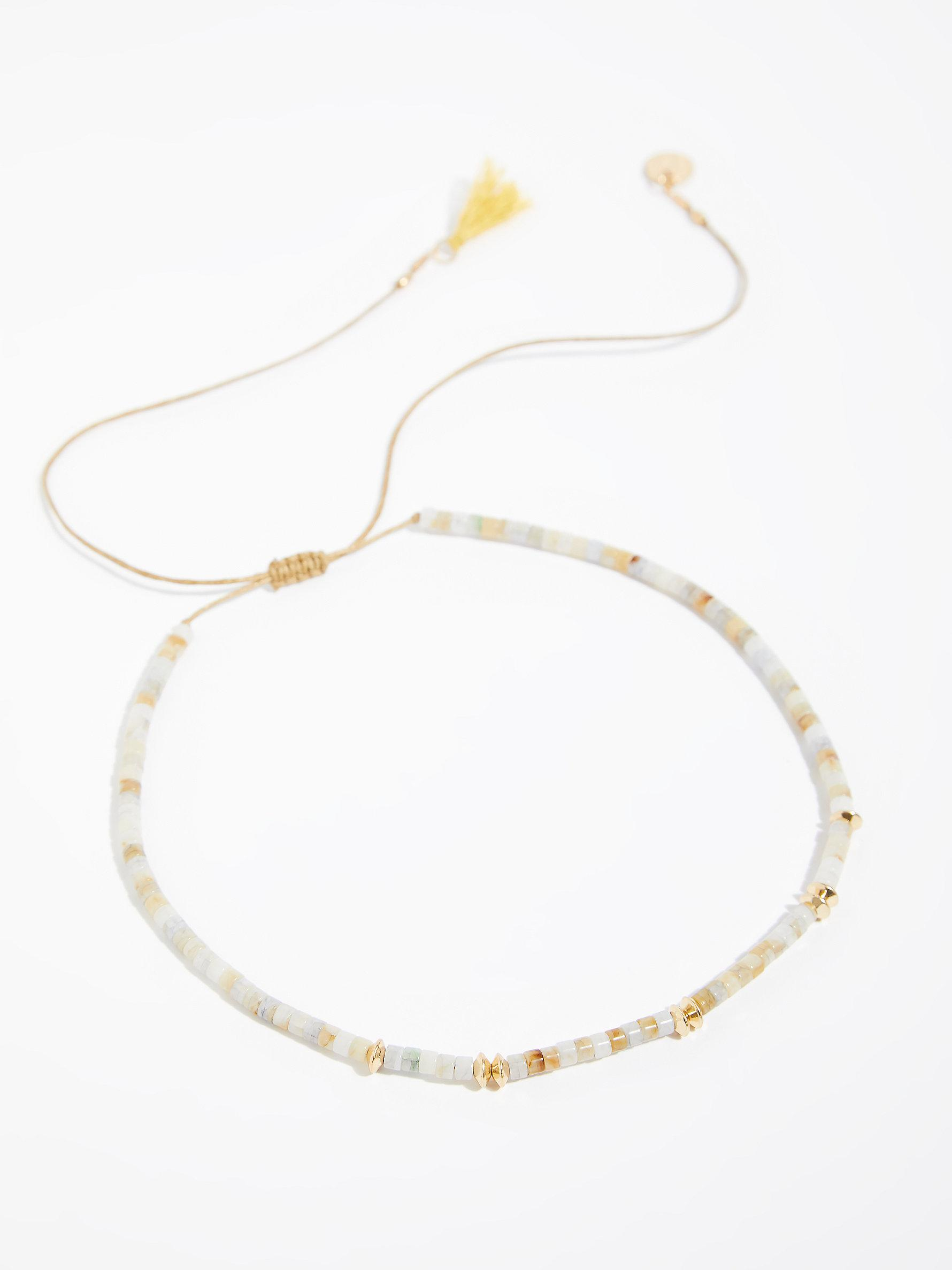 Free People Cotton Asbury Beaded Collar in Natural
