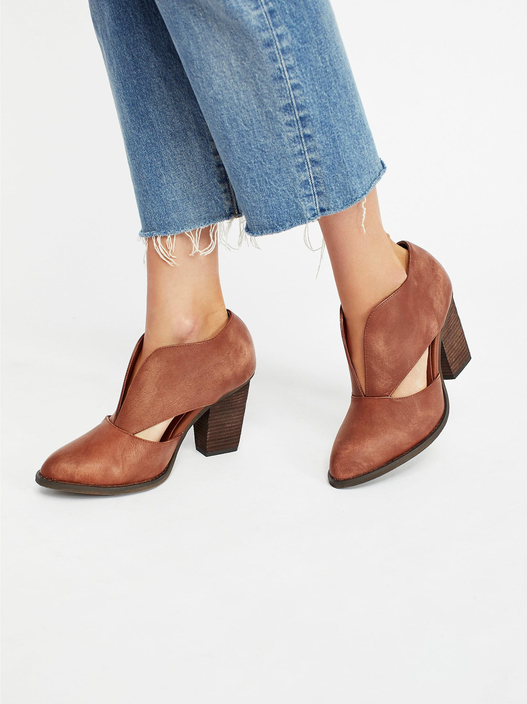 Free People Suede Deep V Ankle Boot in Tan Leather (Blue)