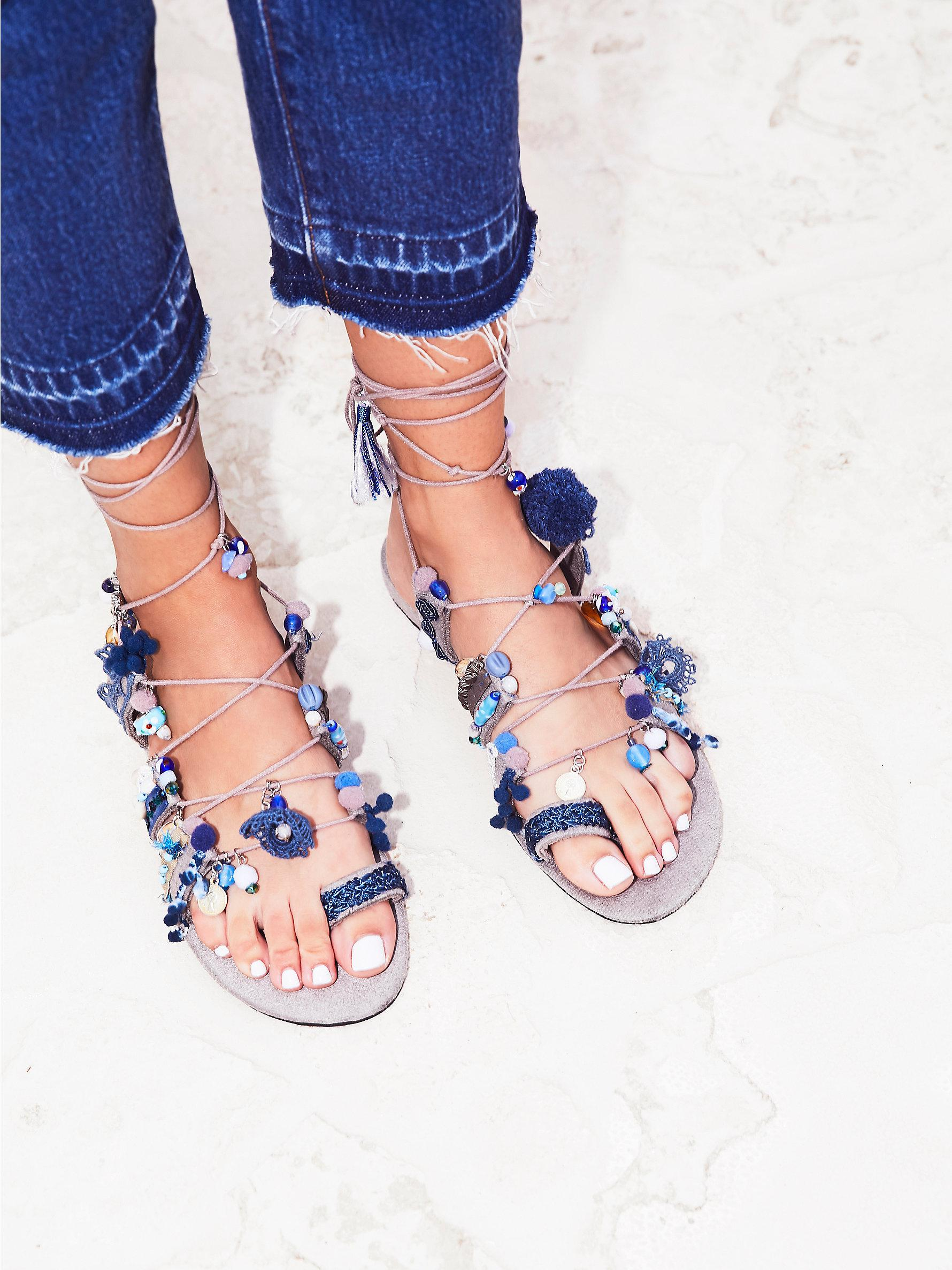 f9f40aa0d127 Lyst - Free People Fools Gold Wrap Sandal in Blue