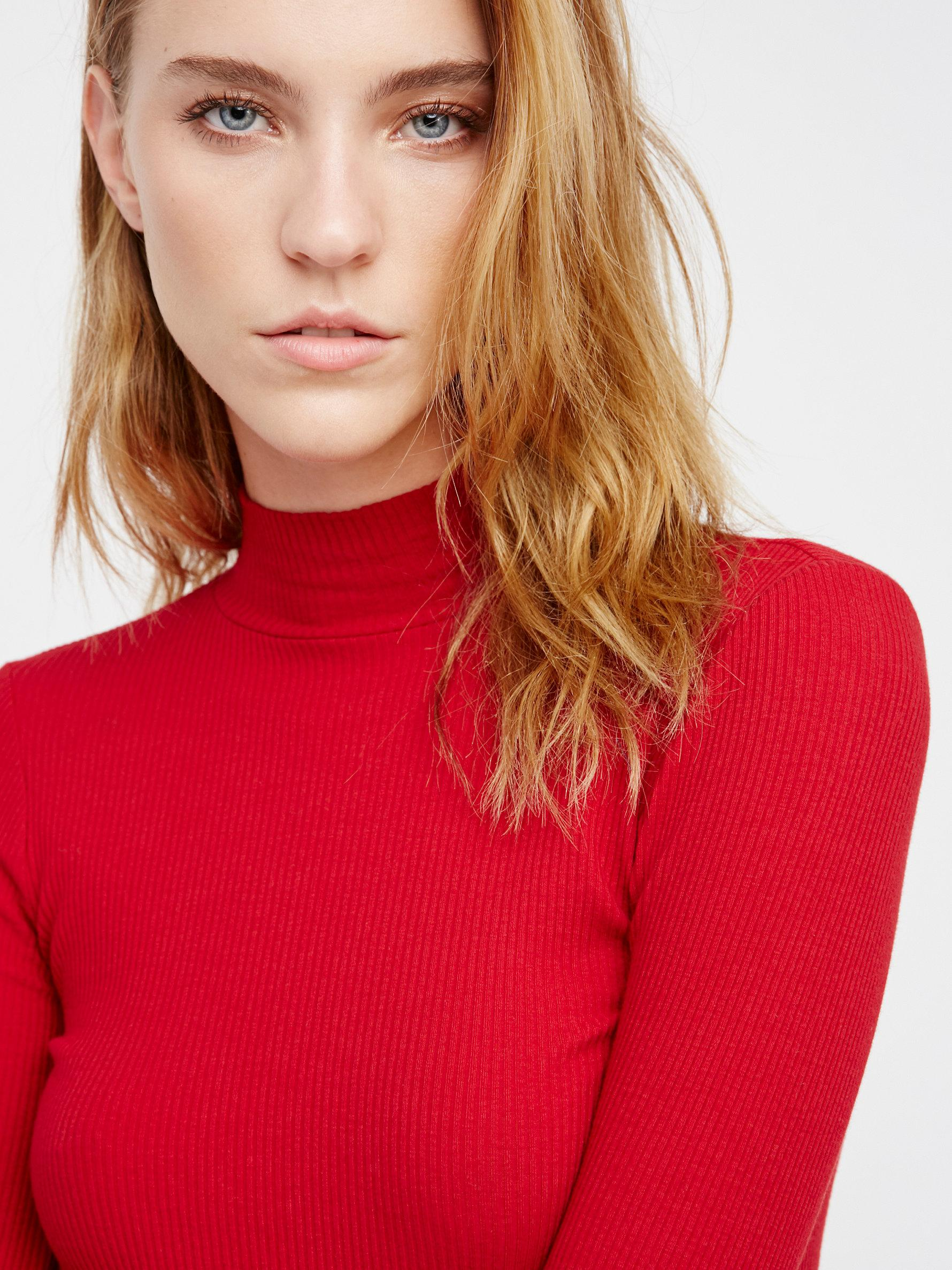 1f95b10a47 Lyst - Free People Fp X Lace-up Mock Neck Top in Red