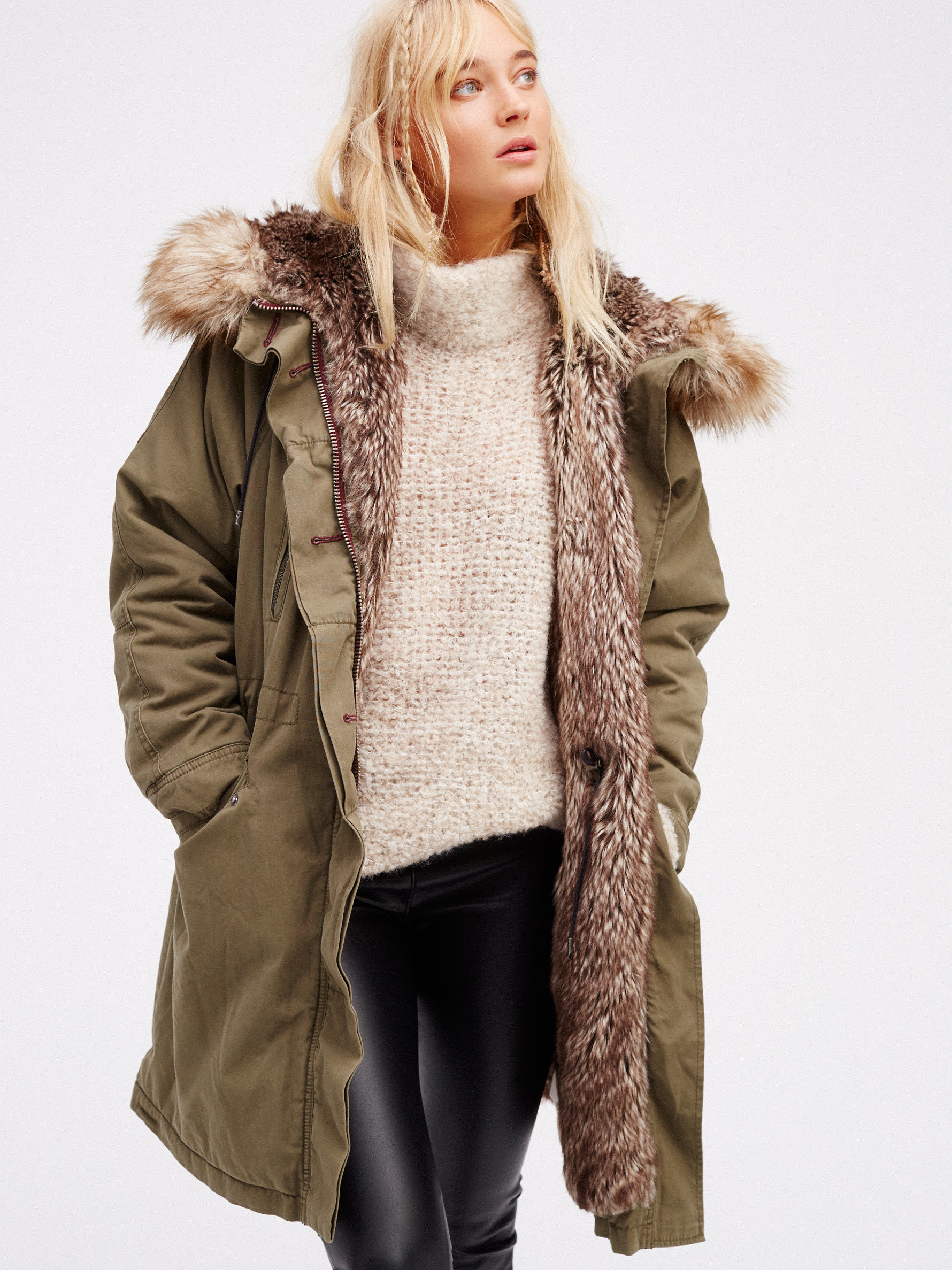 Free people Fur Lined Military Parka | Lyst