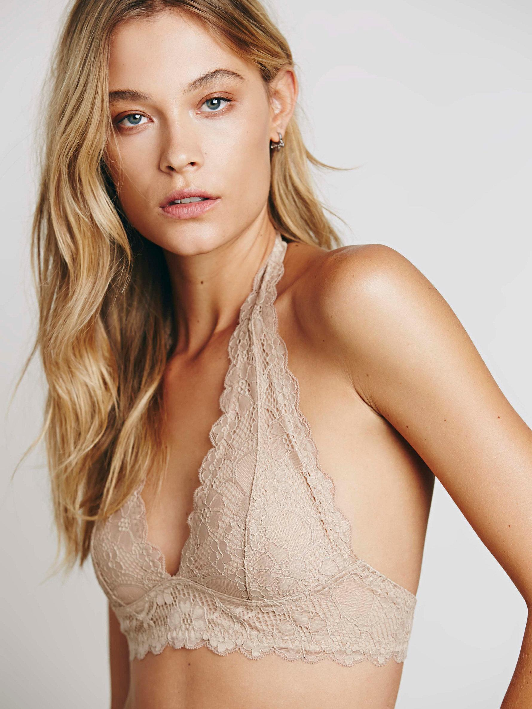 ea70952090 Lyst - Free People Galloon Lace Halter Bra in Natural
