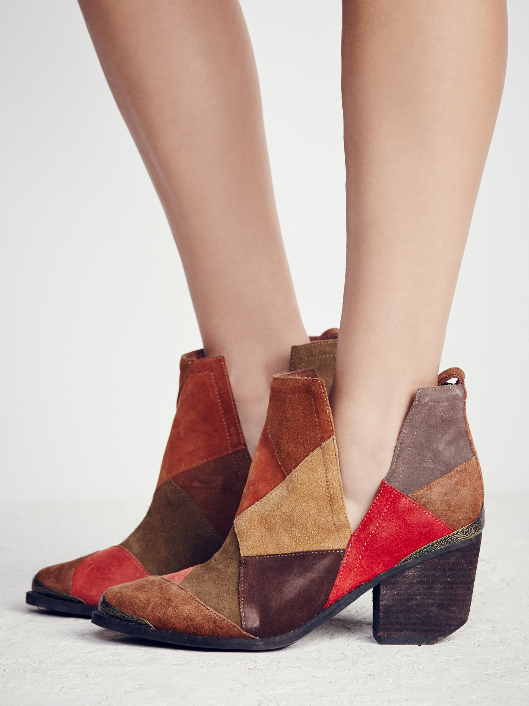 Free People Suede Hunt The Plains Patchwork Boot in Brown