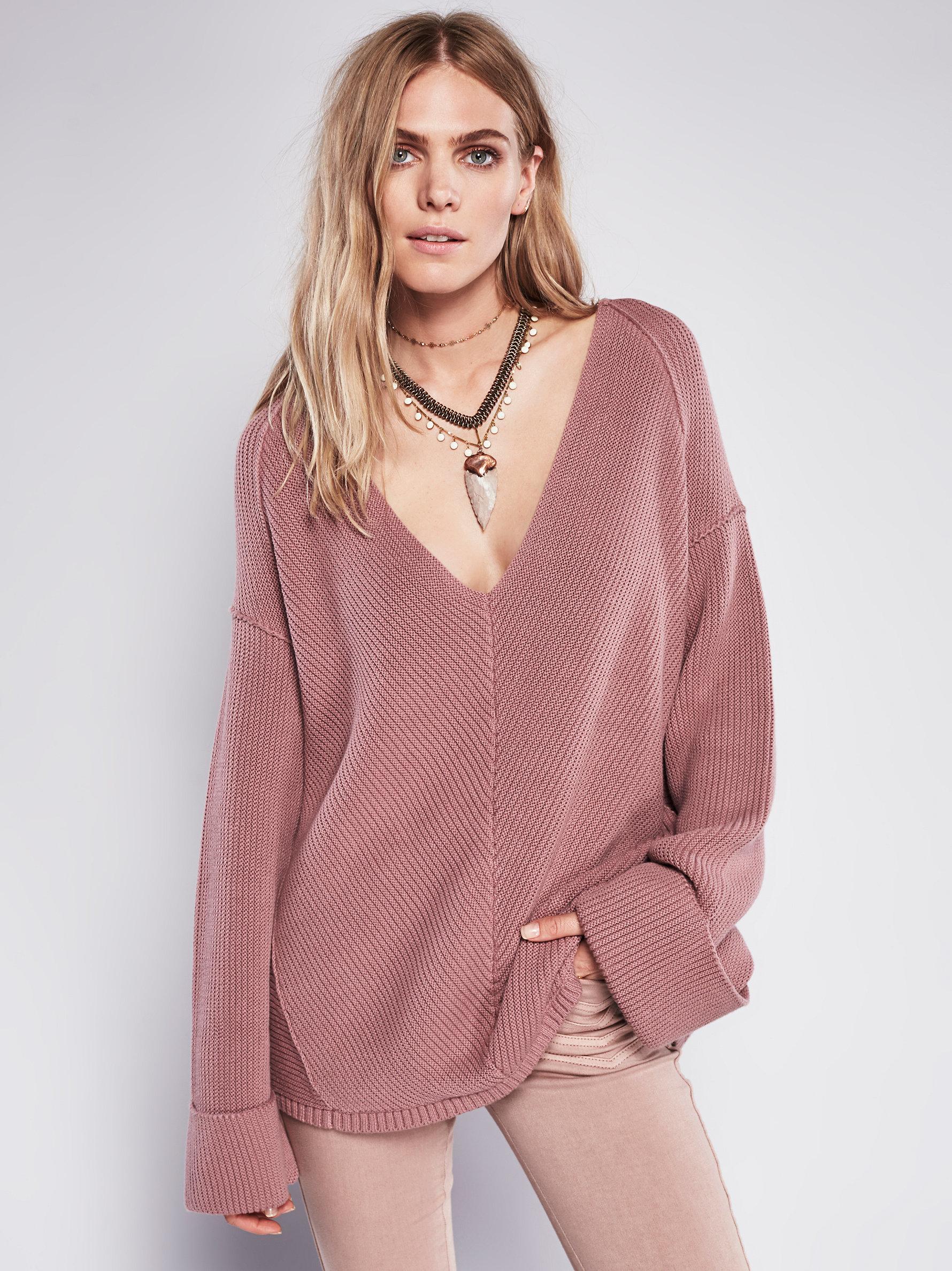Free people La Brea V-neck Sweater in Pink | Lyst