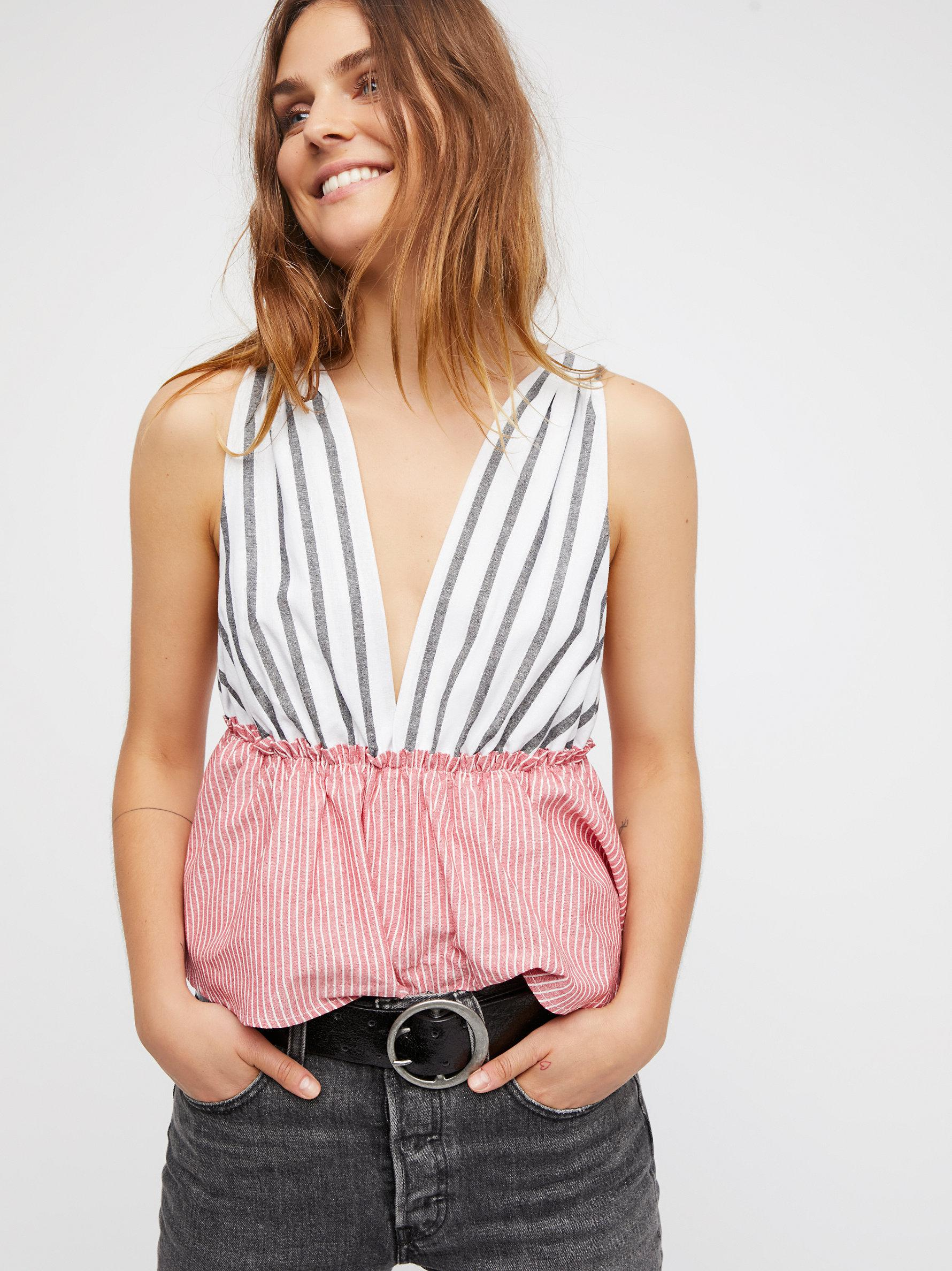 86f7d775a0afa Lyst - Free People Lily Stripe Top in Red