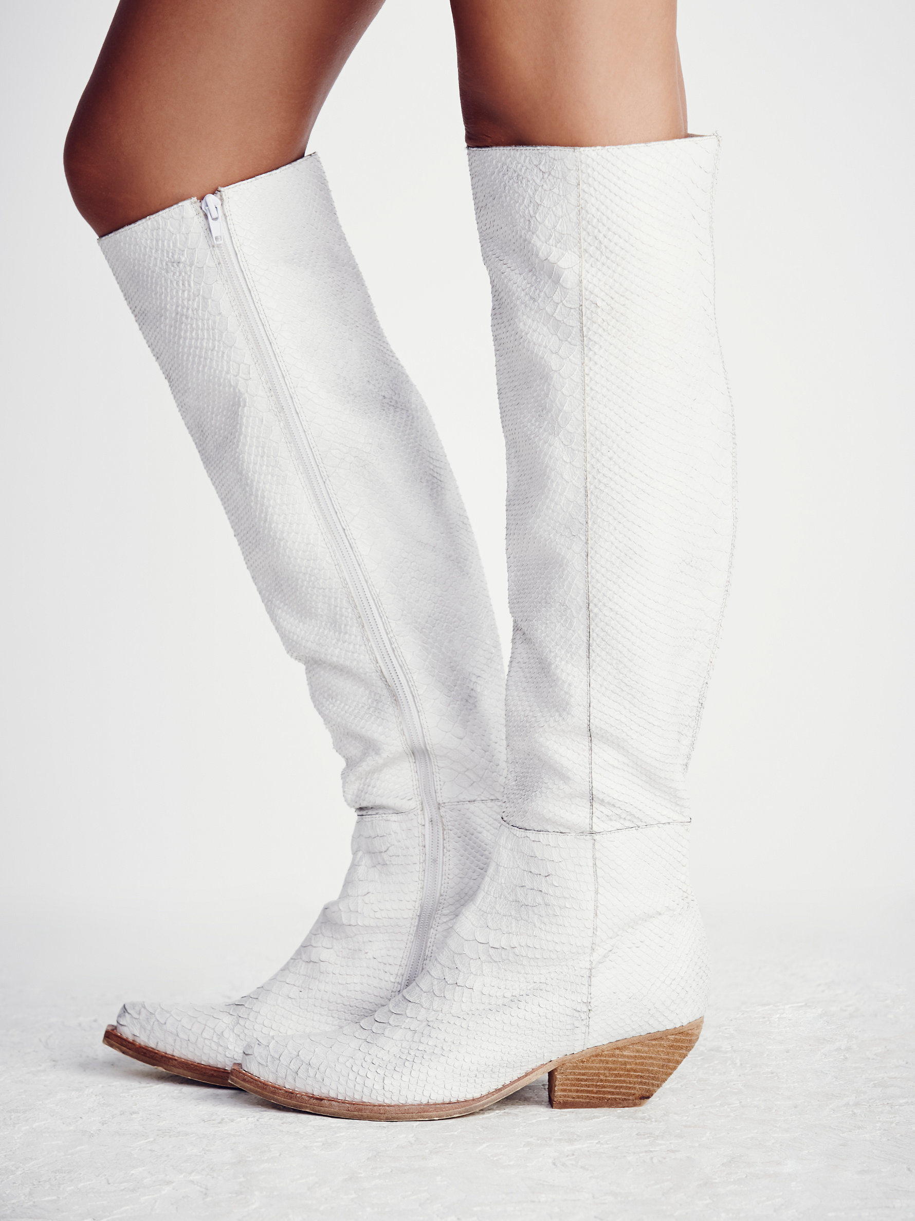 Leather Limitless Tall Boot in White