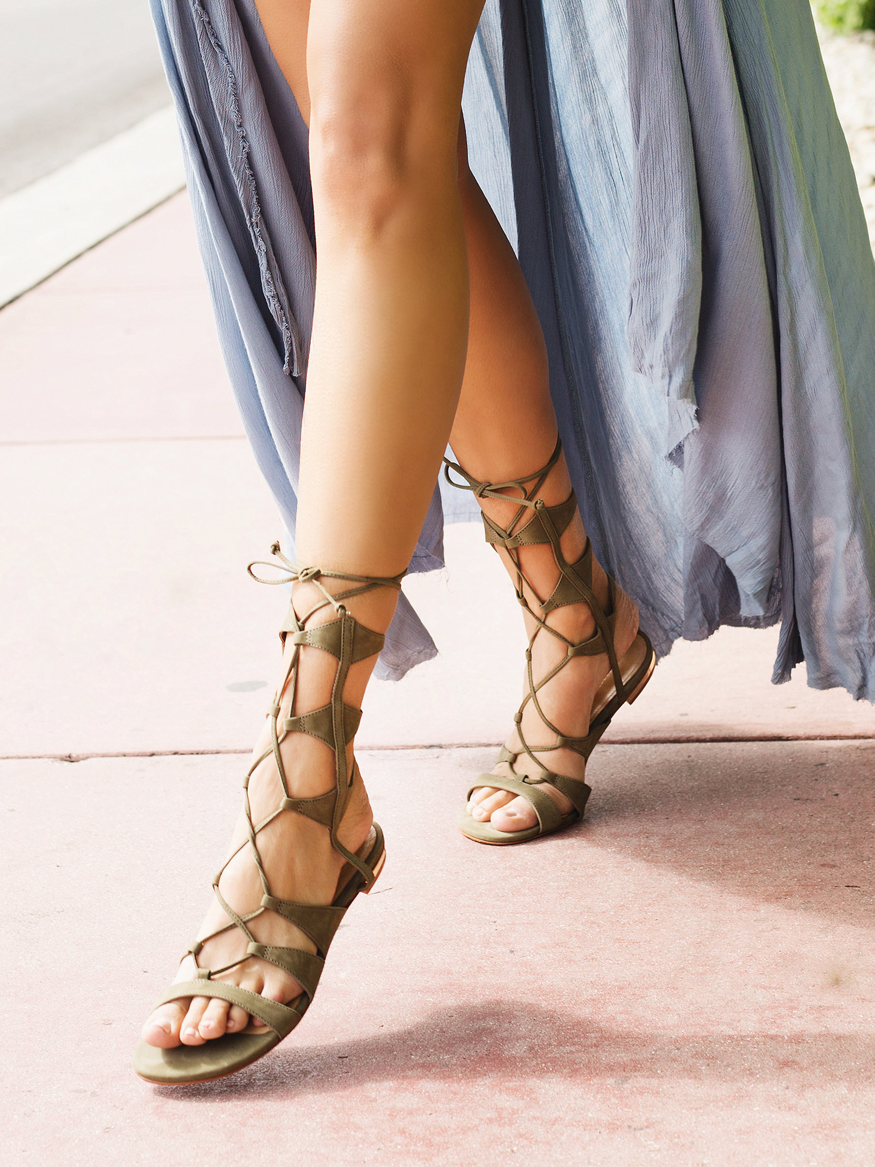 Lina Lace Up Gladiator Sandals in Green