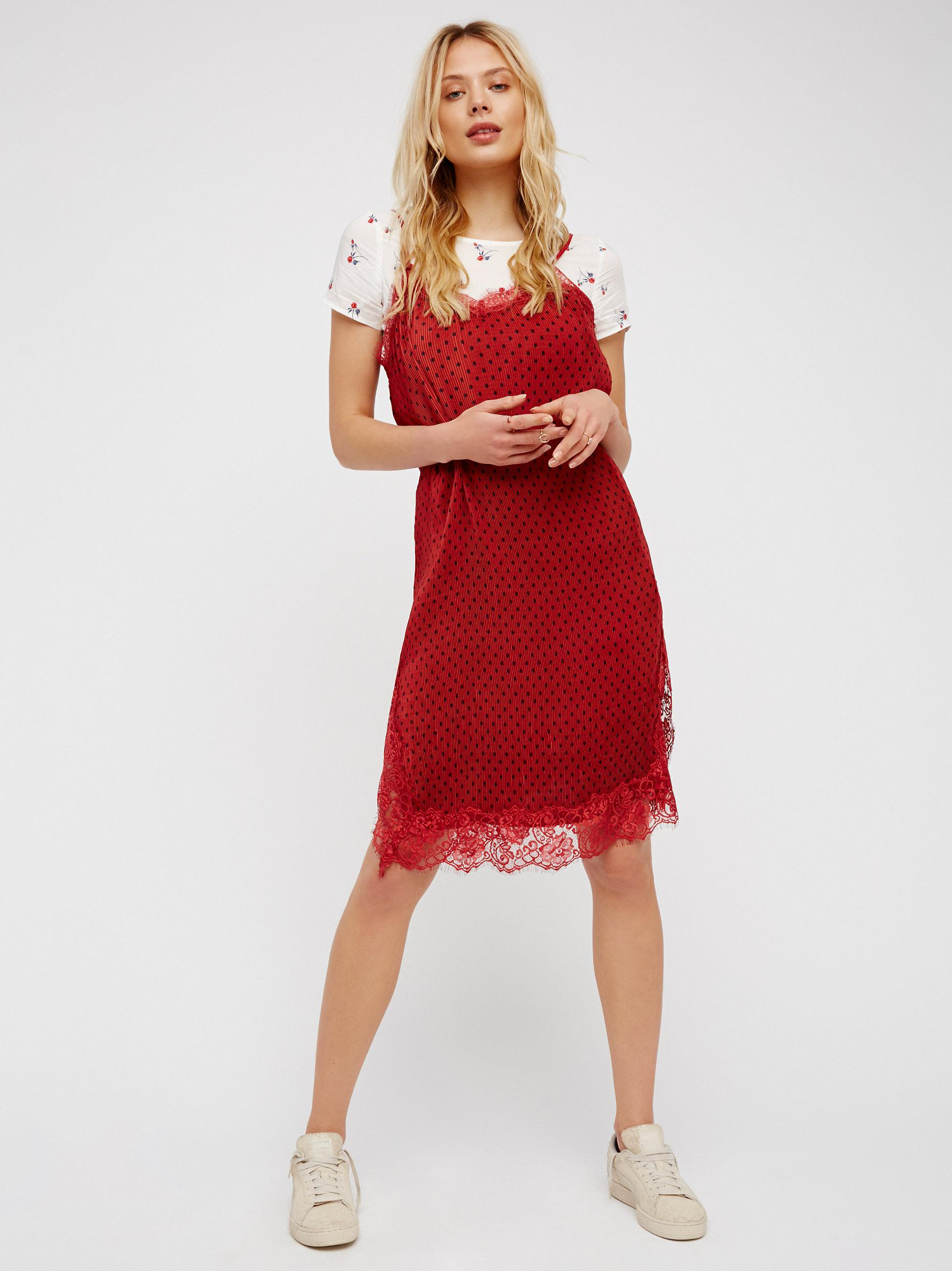 122fab36bef Lyst - Free People Margot 2fer Slip Dress in Red