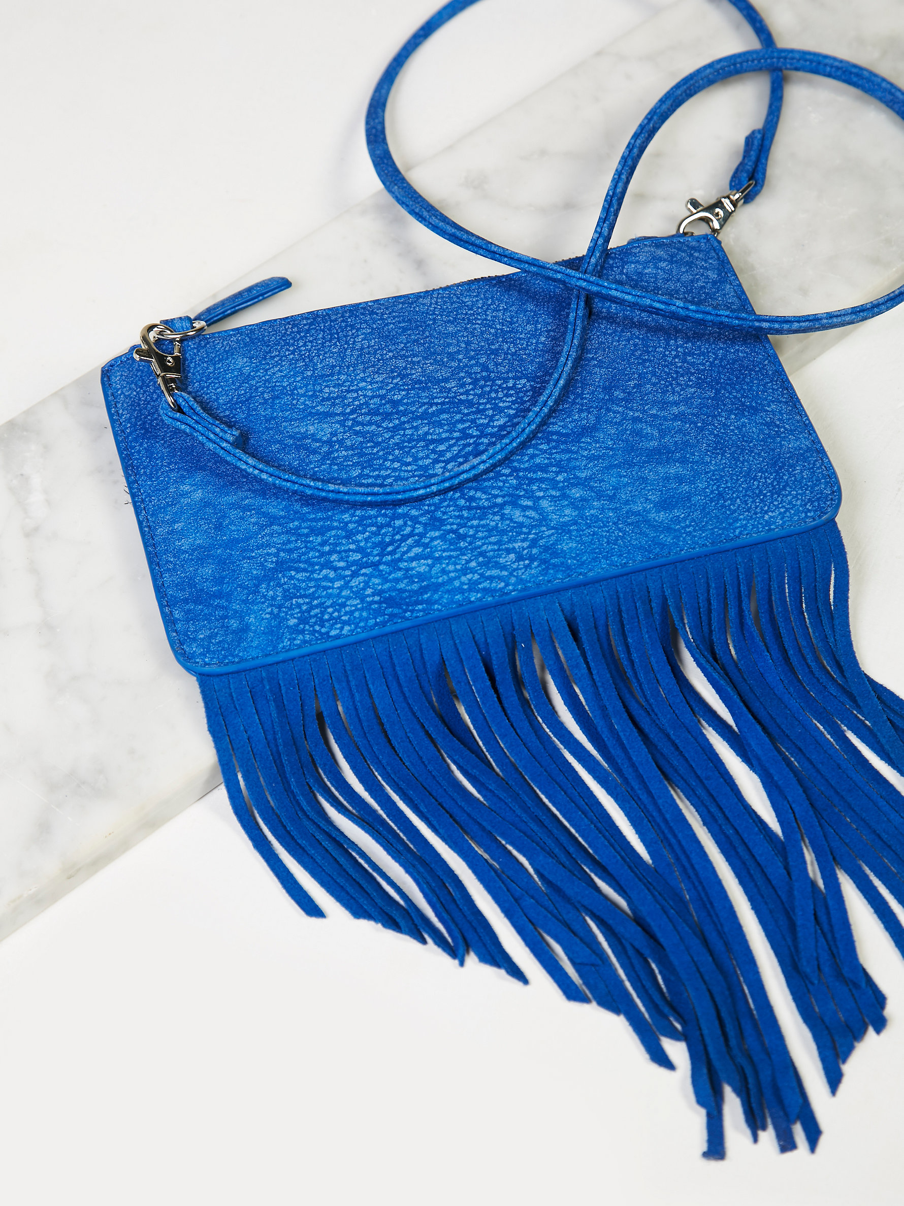 Free People Leather Mini Fringe Crossbody in Cobalt Blue (Blue)