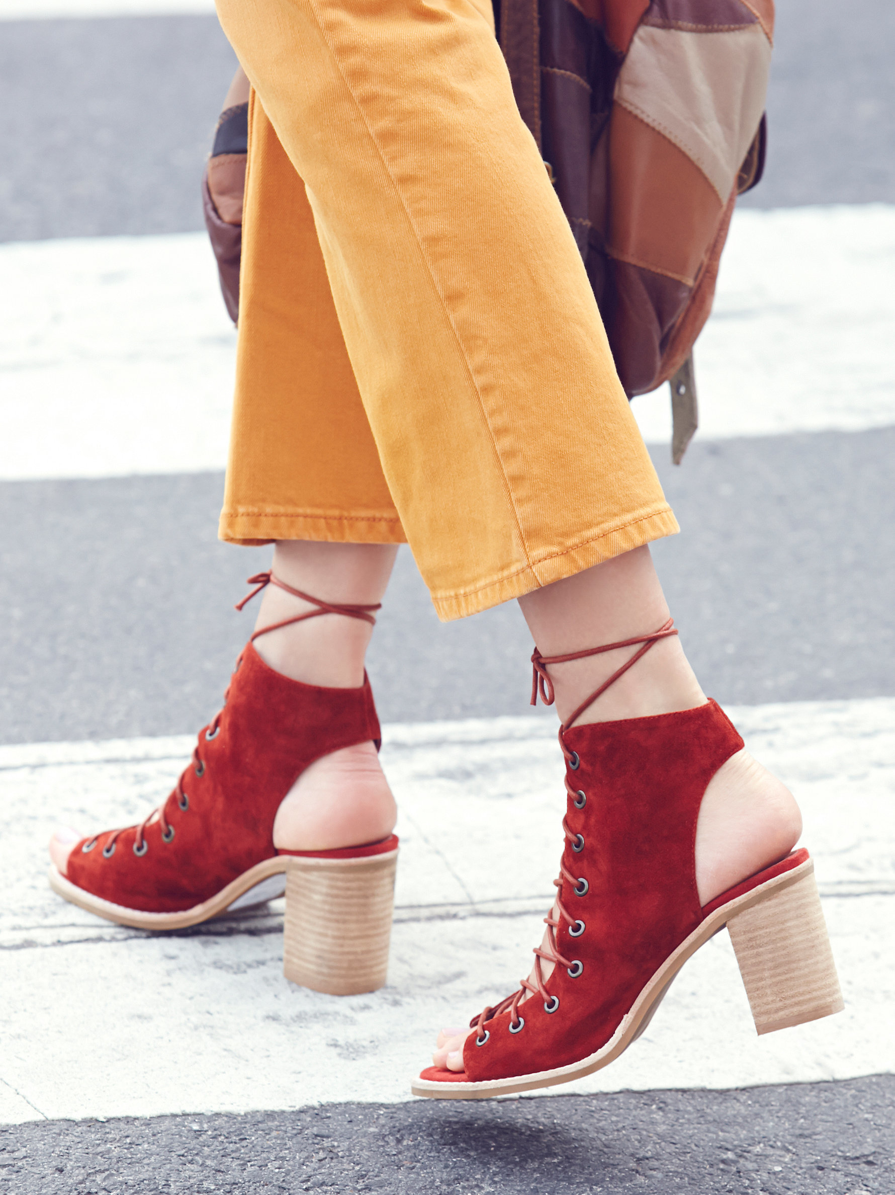 Free people Minimal Lace Up Heel in Red | Lyst