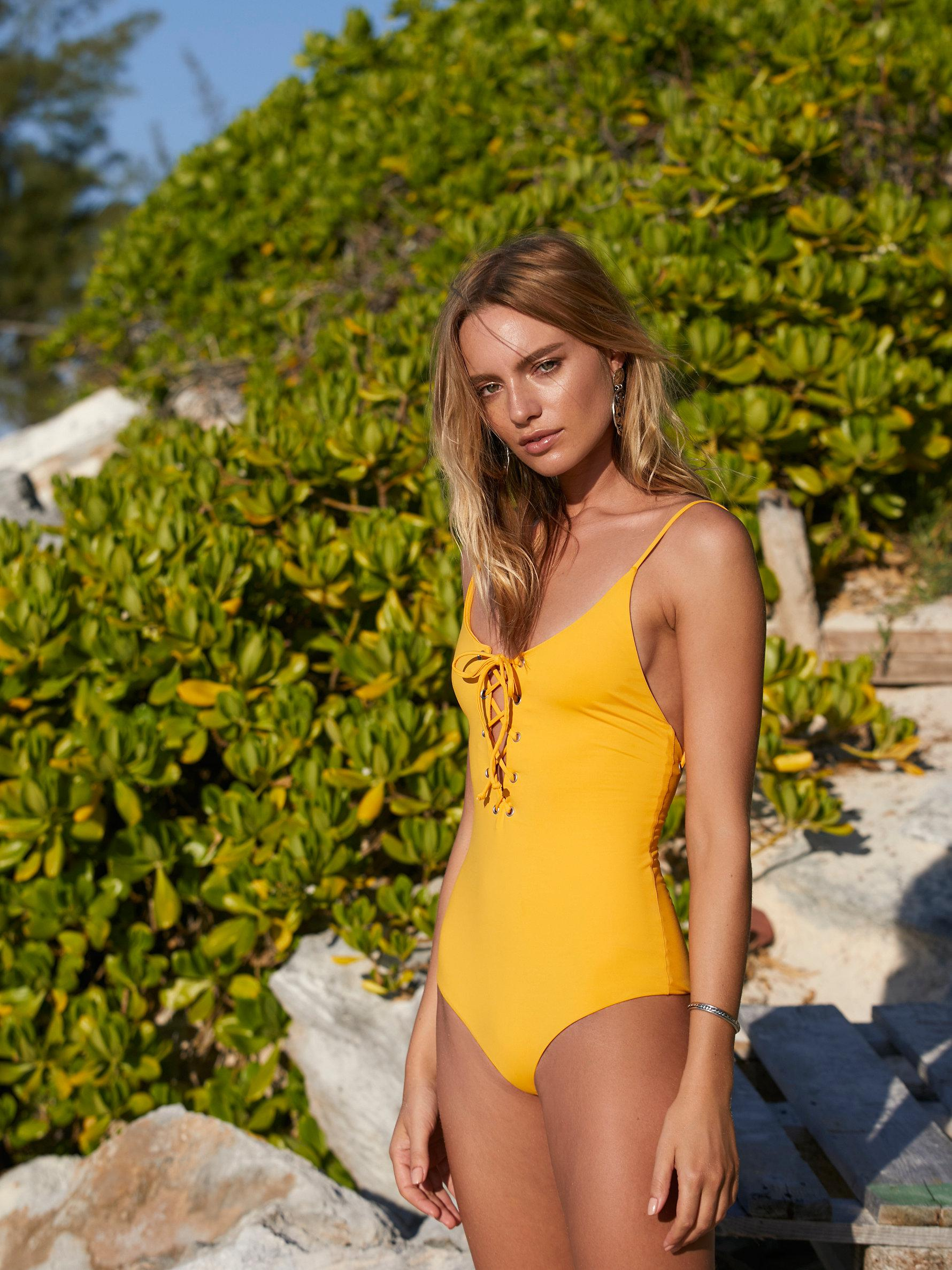 772f349d3d9 Free People Monahan One Piece Swimsuit in Yellow - Lyst
