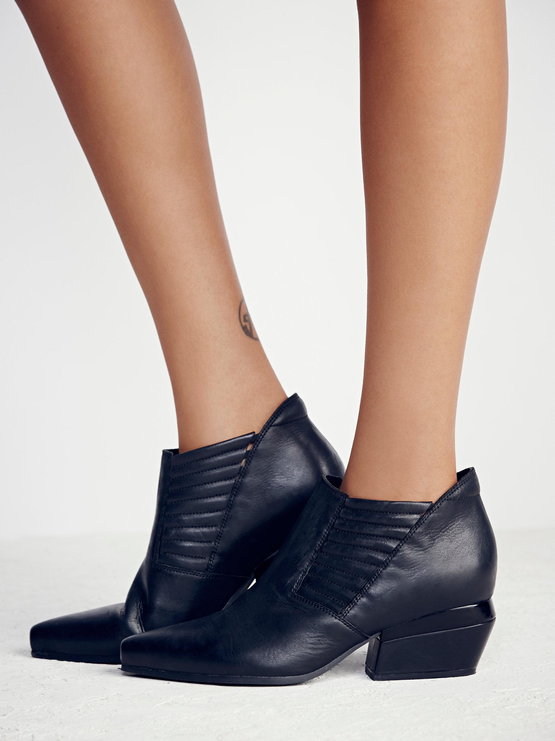 Free People Leather Outerbanks Ankle Boot in Black