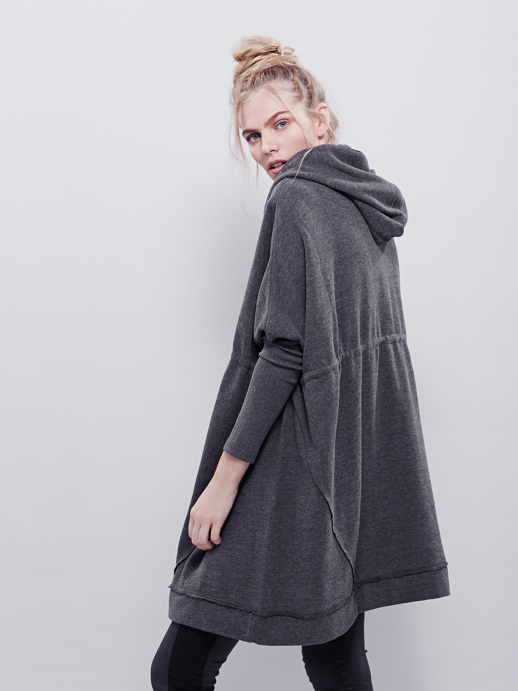 Free People Synthetic Oversized Zip Hoodie in Washed Black ...
