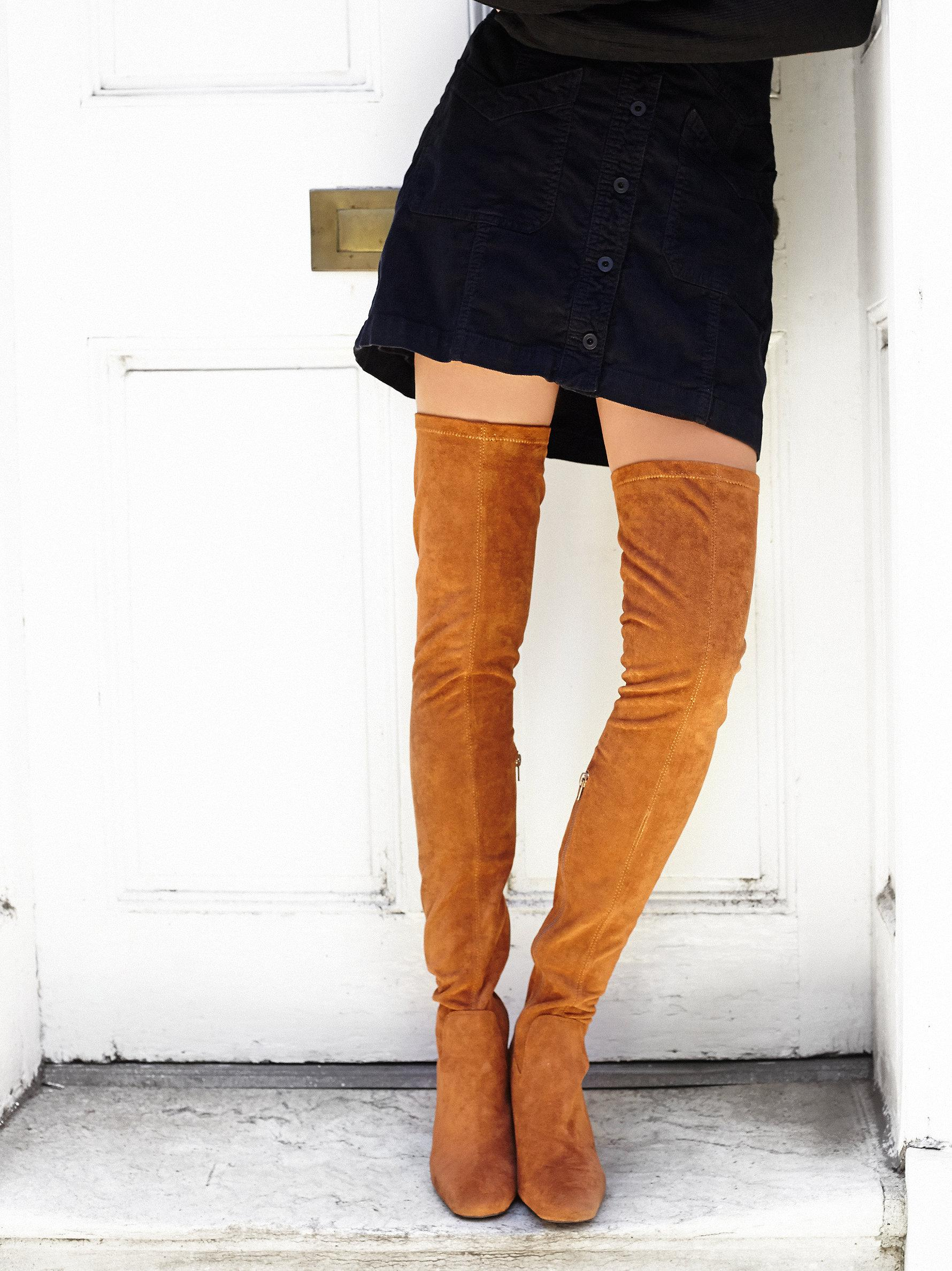 Free people Parkway Thigh High Boot in Brown | Lyst