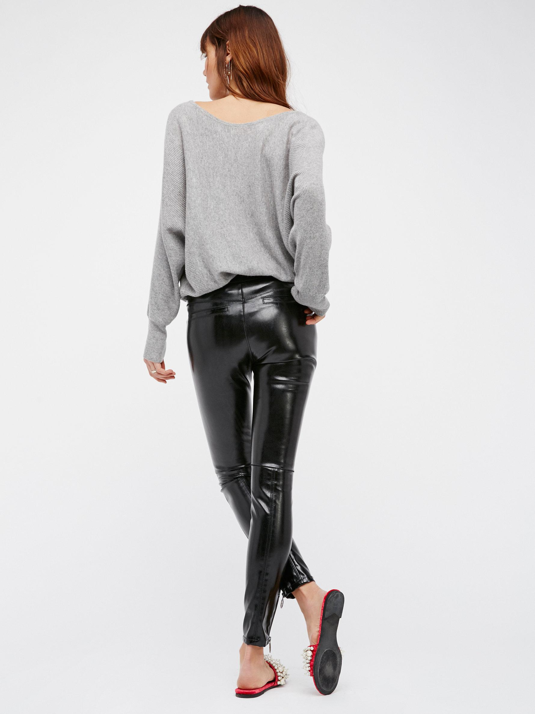 Free People Patent Vegan Leather Leggings In Black Lyst