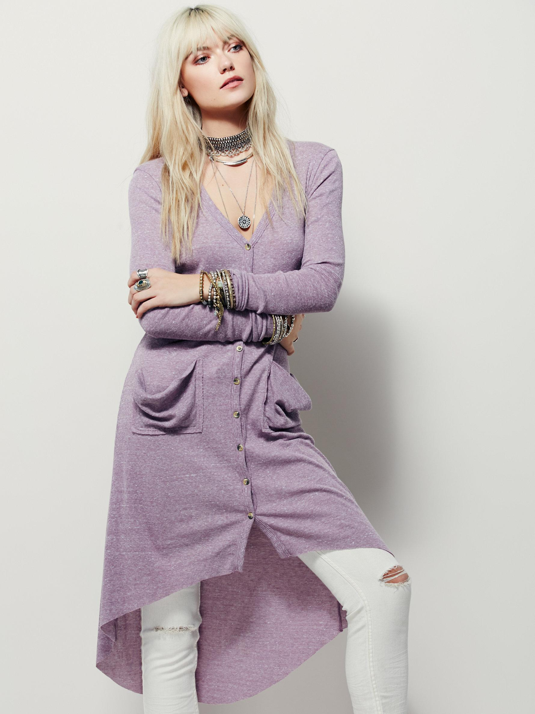 Free people Ribbed Up Maxi Cardigan in Purple | Lyst