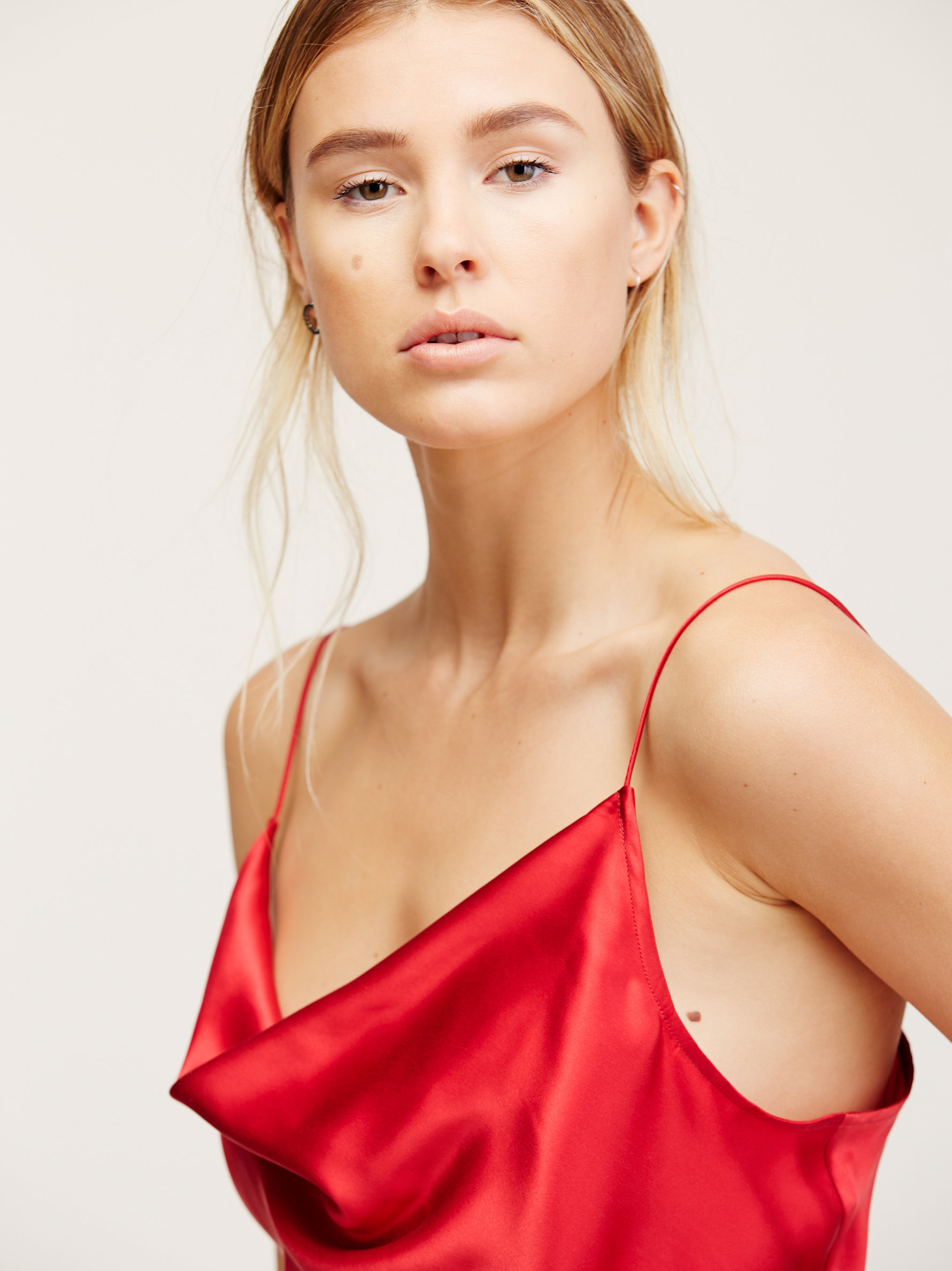 Free People Silk Cowl Cami in Red