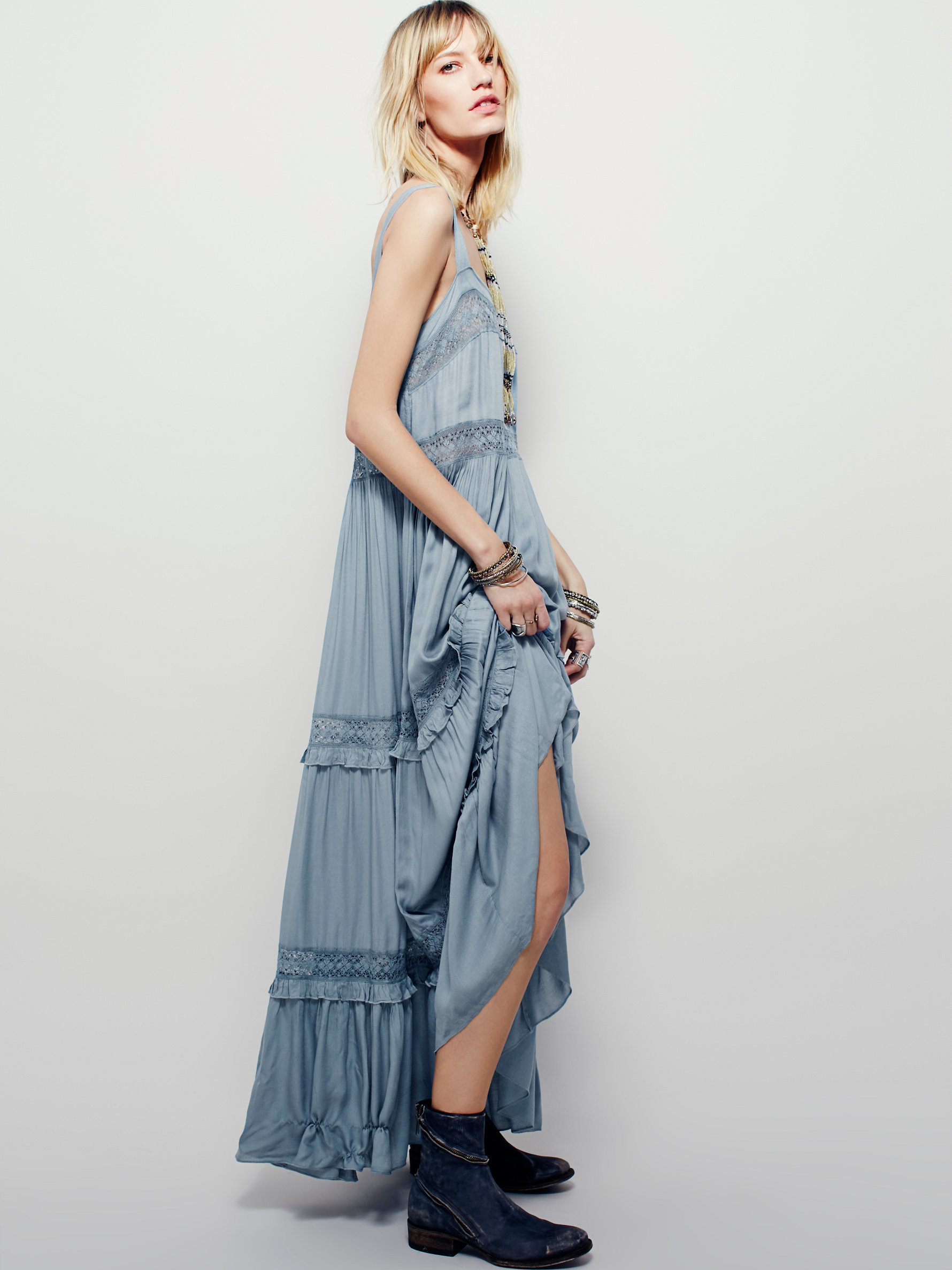 Free people Simply Peasant Slip in Blue | Lyst
