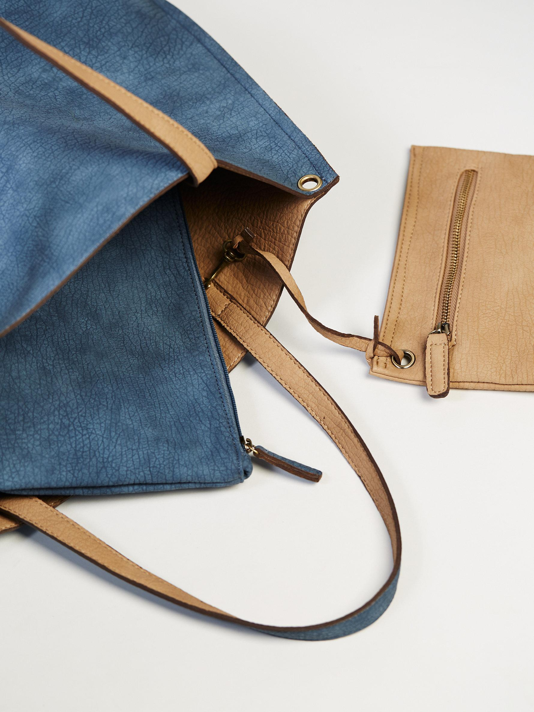 Free People Leather Slouchy Vegan Tote in Washed Blue / Natural (Blue)