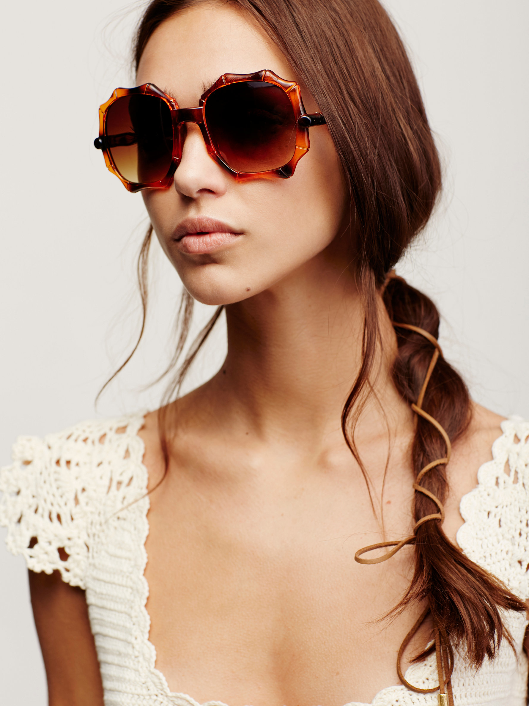 Free People Tiki Bar Bamboo Sunglasses in Amber Tortoise (Brown)