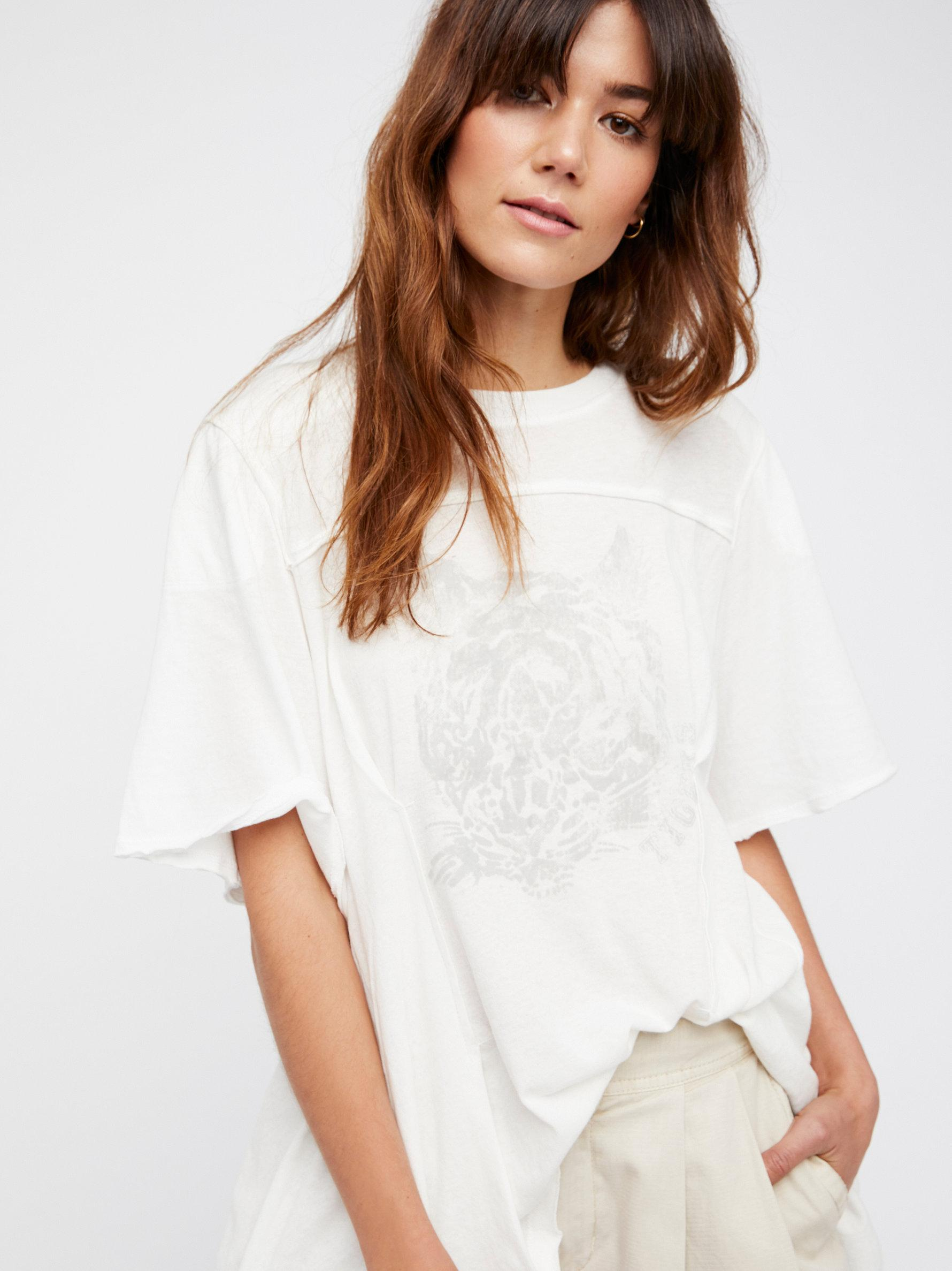 Free People Cotton We The Free Yeah Girl Tee in Ivory Combo (White)