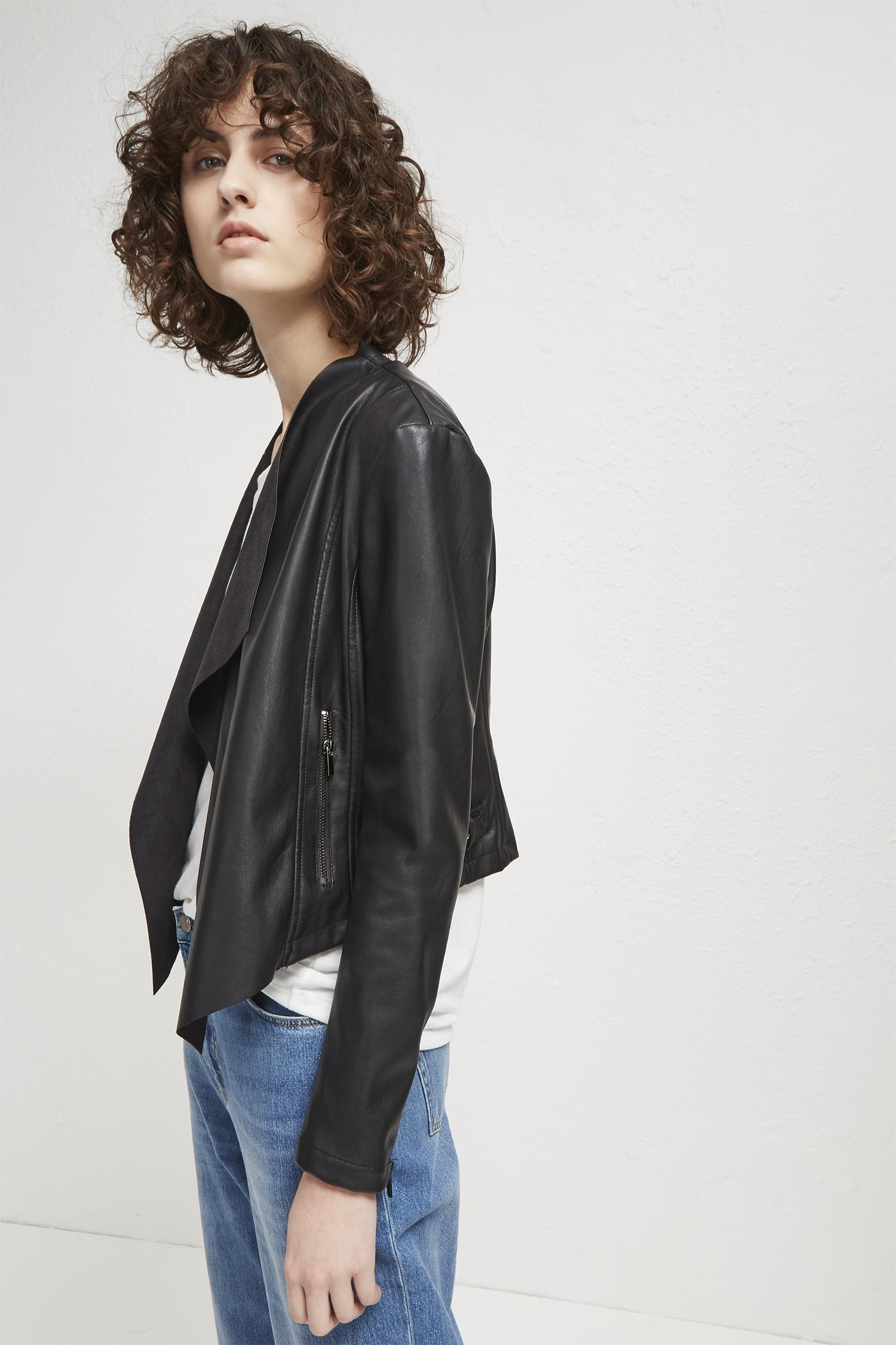 0dd3a8090 French Connection Black Stephanie Pu Waterfall Jacket