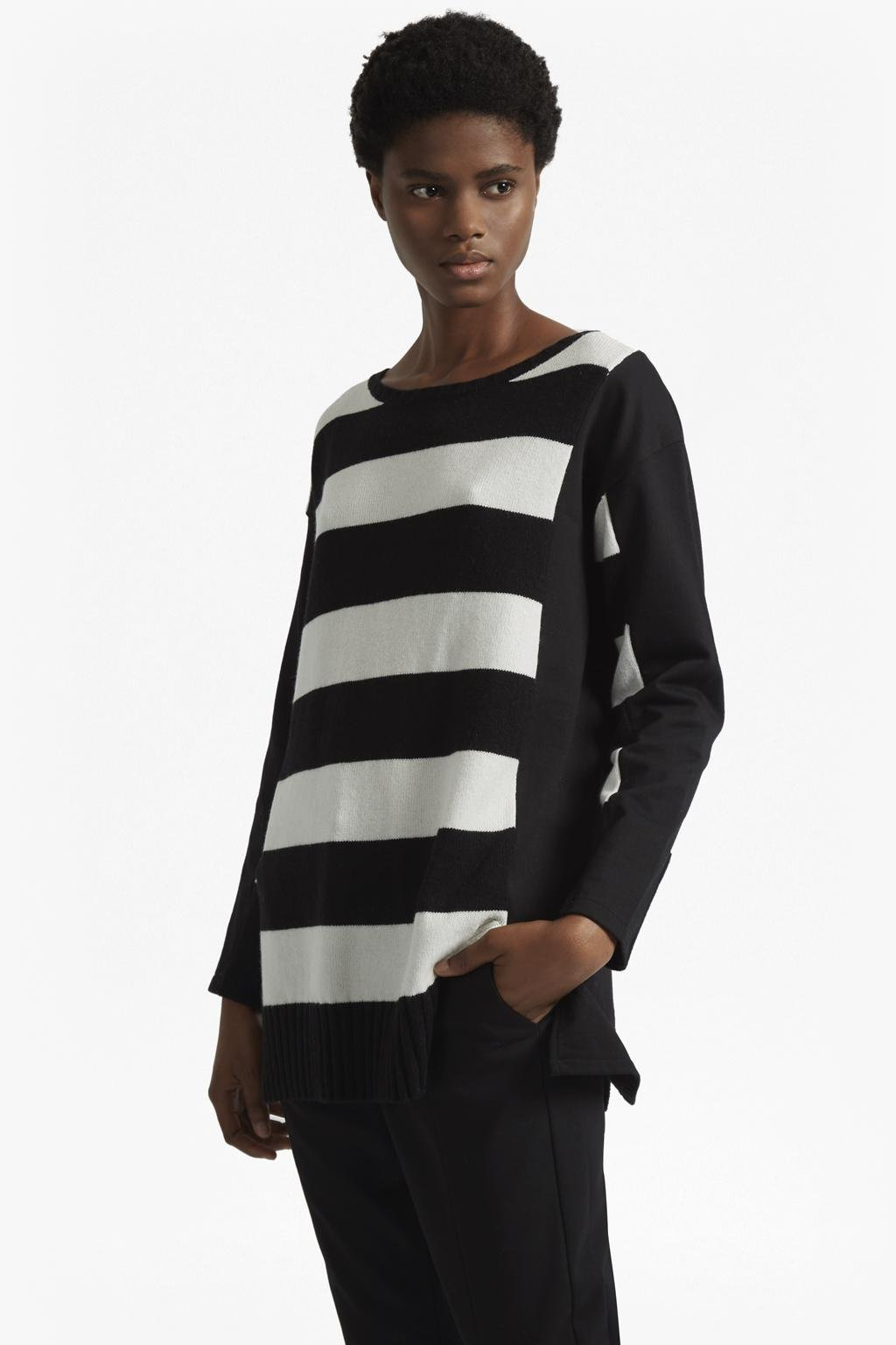 b9e00464163 Lyst - French Connection Ollie Striped Knit Crew Neck Jumper in Black