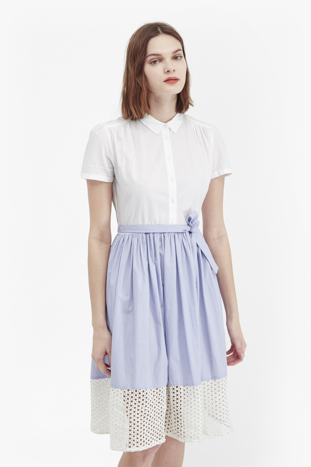 French connection kyra cotton shirt dress in white blue for French connection shirt dress
