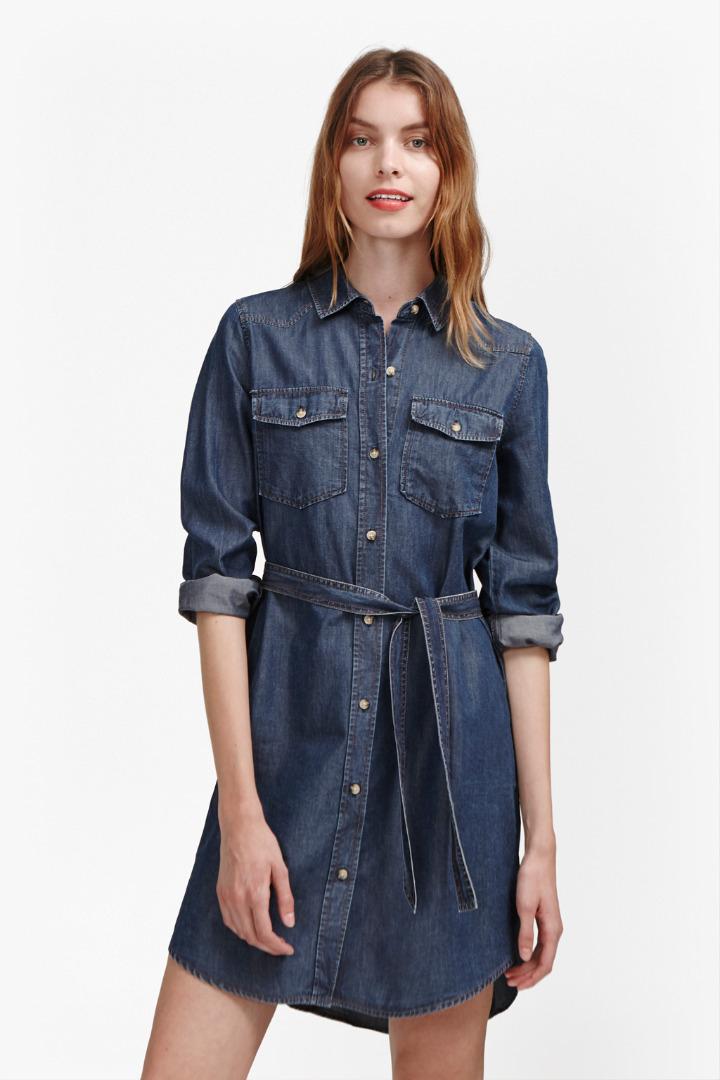 French connection denim tencel western shirt dress in blue for French connection shirt dress