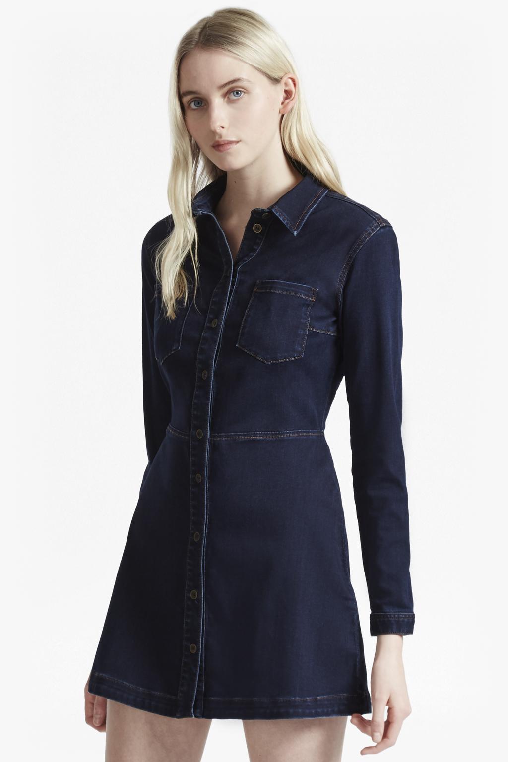 Lyst french connection indigo snug denim shirt dress in blue for French connection shirt dress