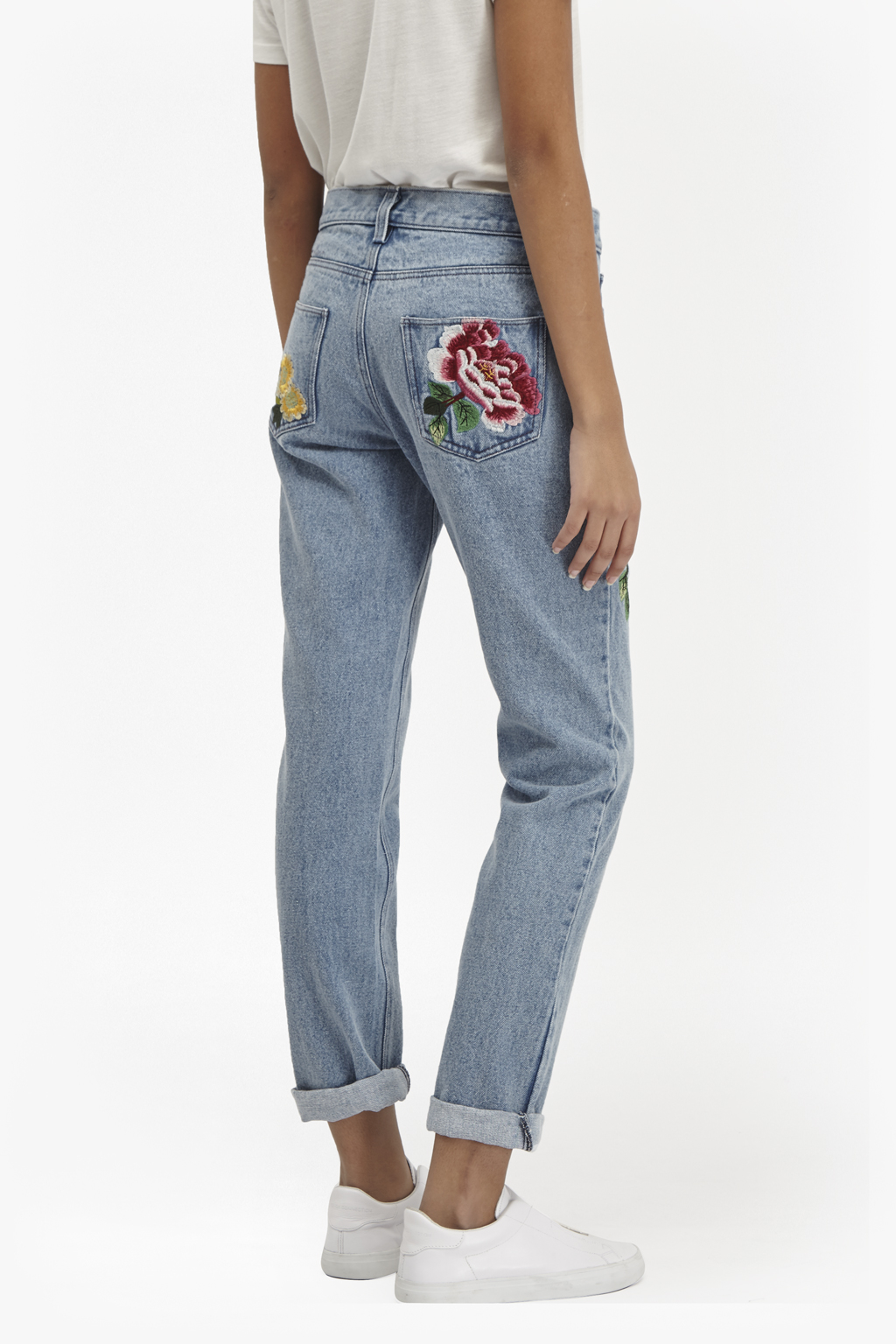 French Connection Dionne Embroidered Boyfit Jeans In Blue