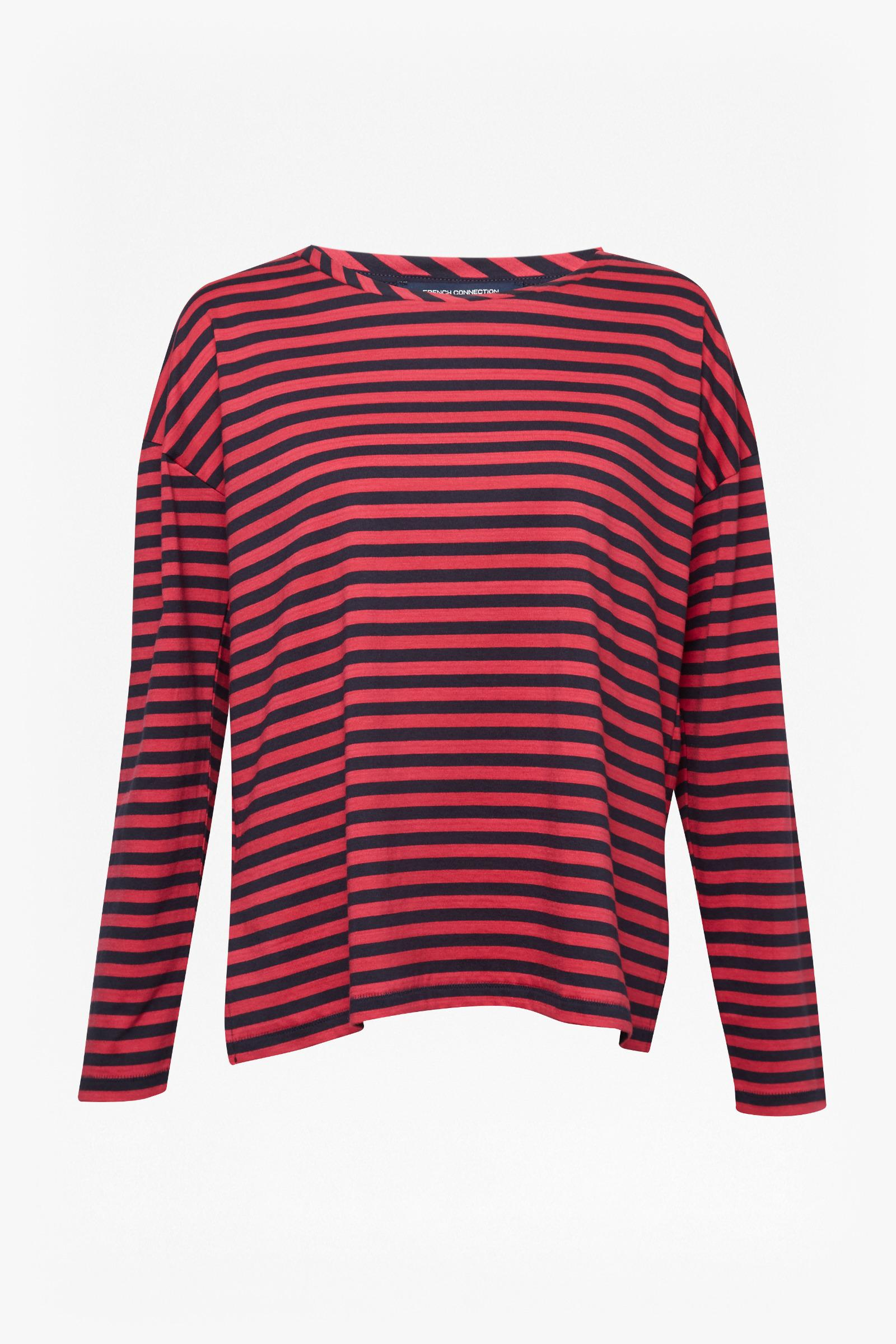 12ec6c58d6a Lyst - French Connection Tim Tim Light Stripe Top in Red