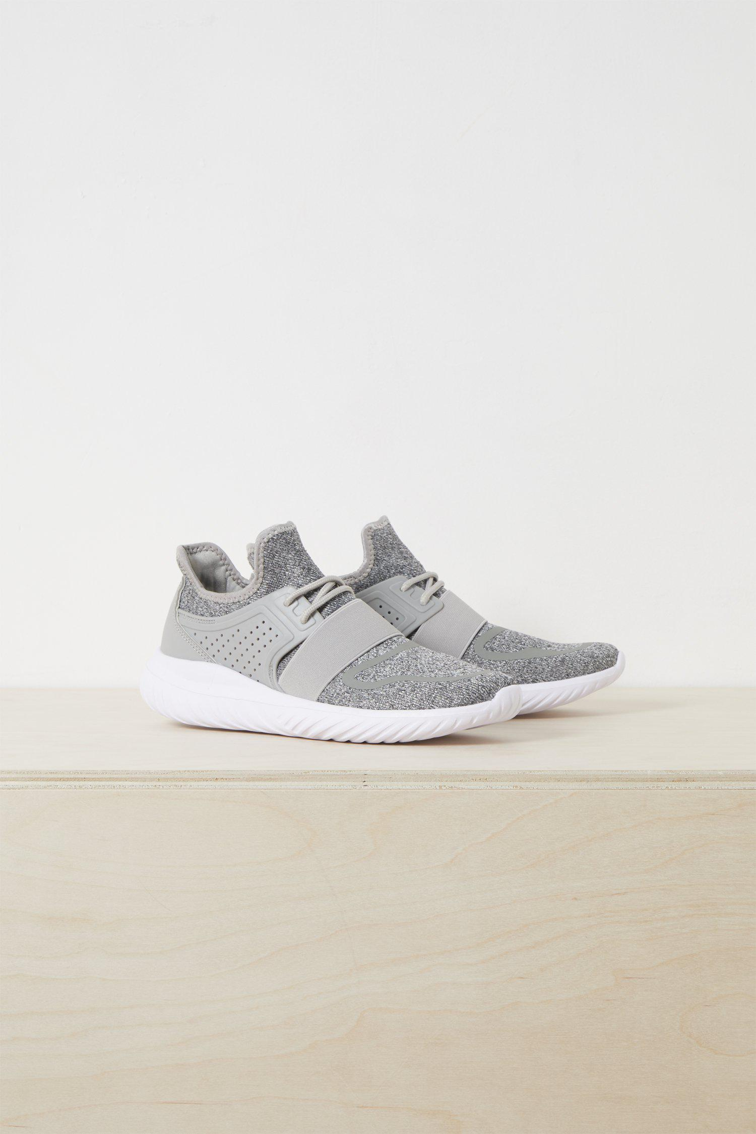 French Connection Denim Nella Knitted Lace Up Trainer in Grey