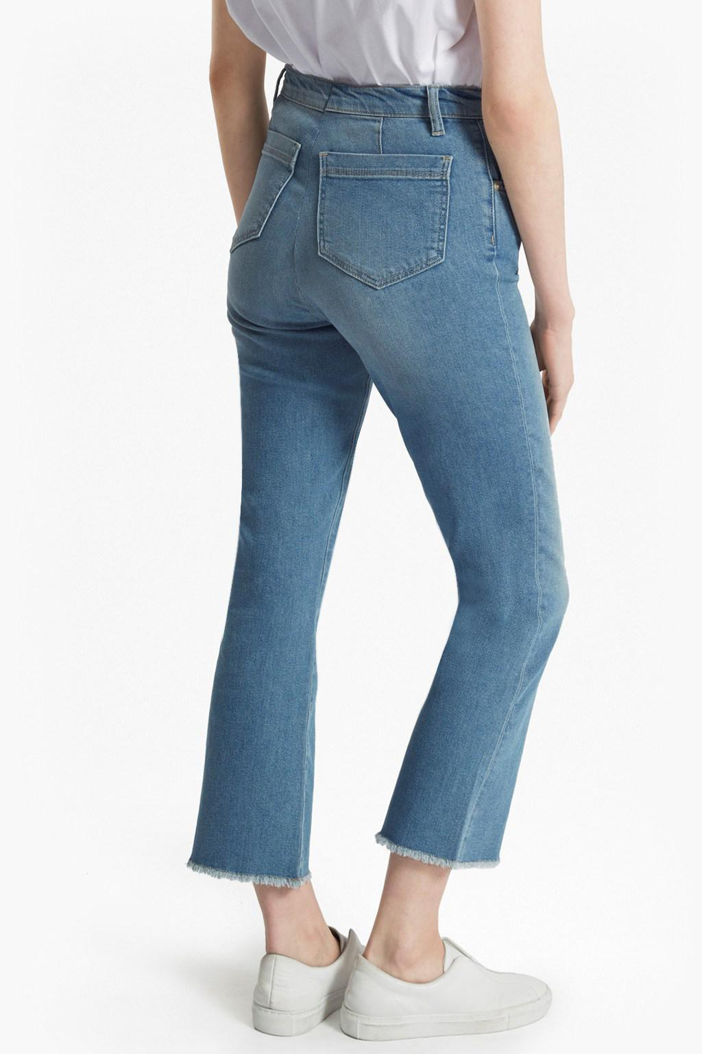 French Connection Ash Denim Cropped Kick Flare Jeans in Blue