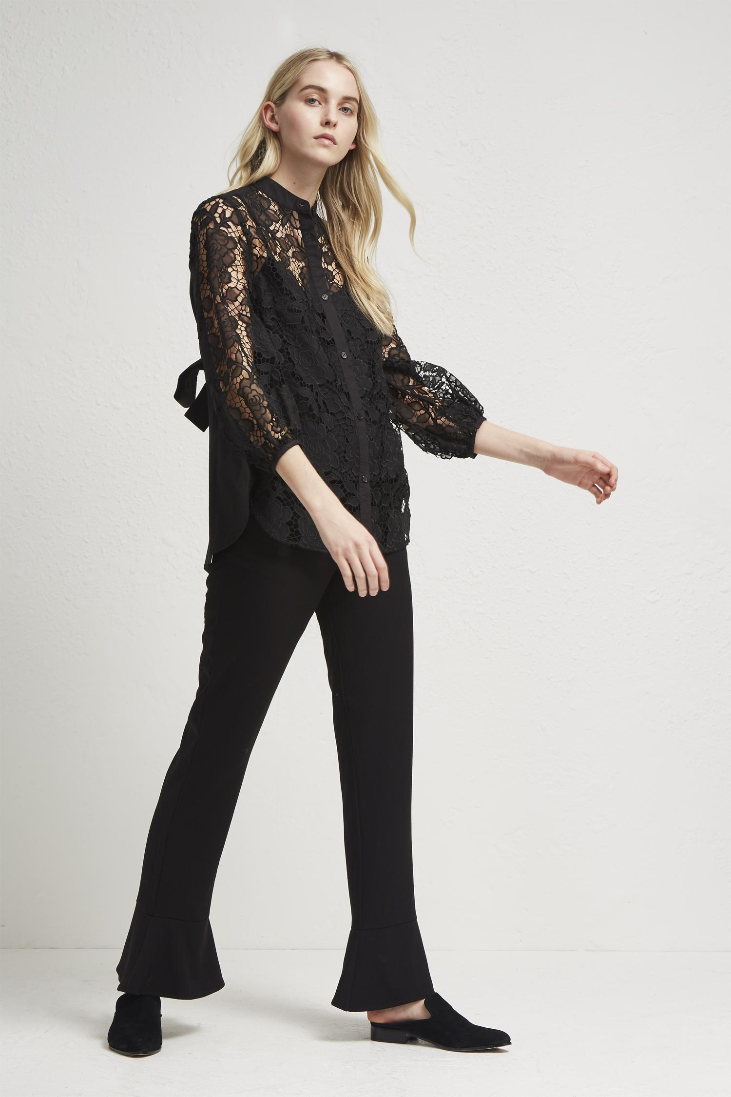 8fba4d1200cecf French Connection Chania Lace Puff Sleeve Shirt in Black - Lyst