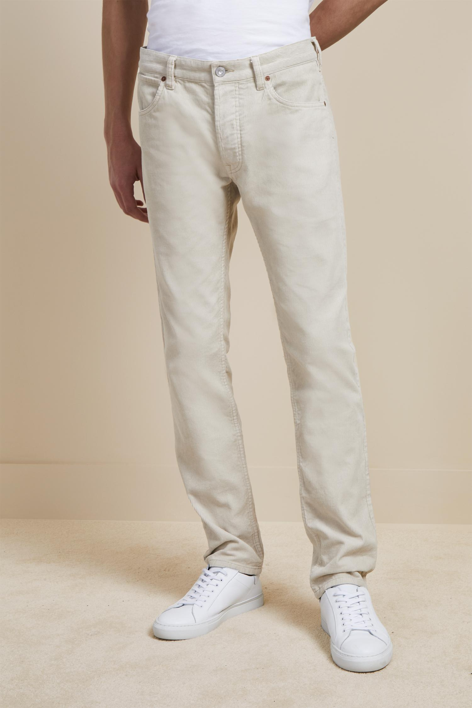 French Connection Corduroy Overdyed 12 Wales Cord Trousers in Clay Cream (Natural) for Men
