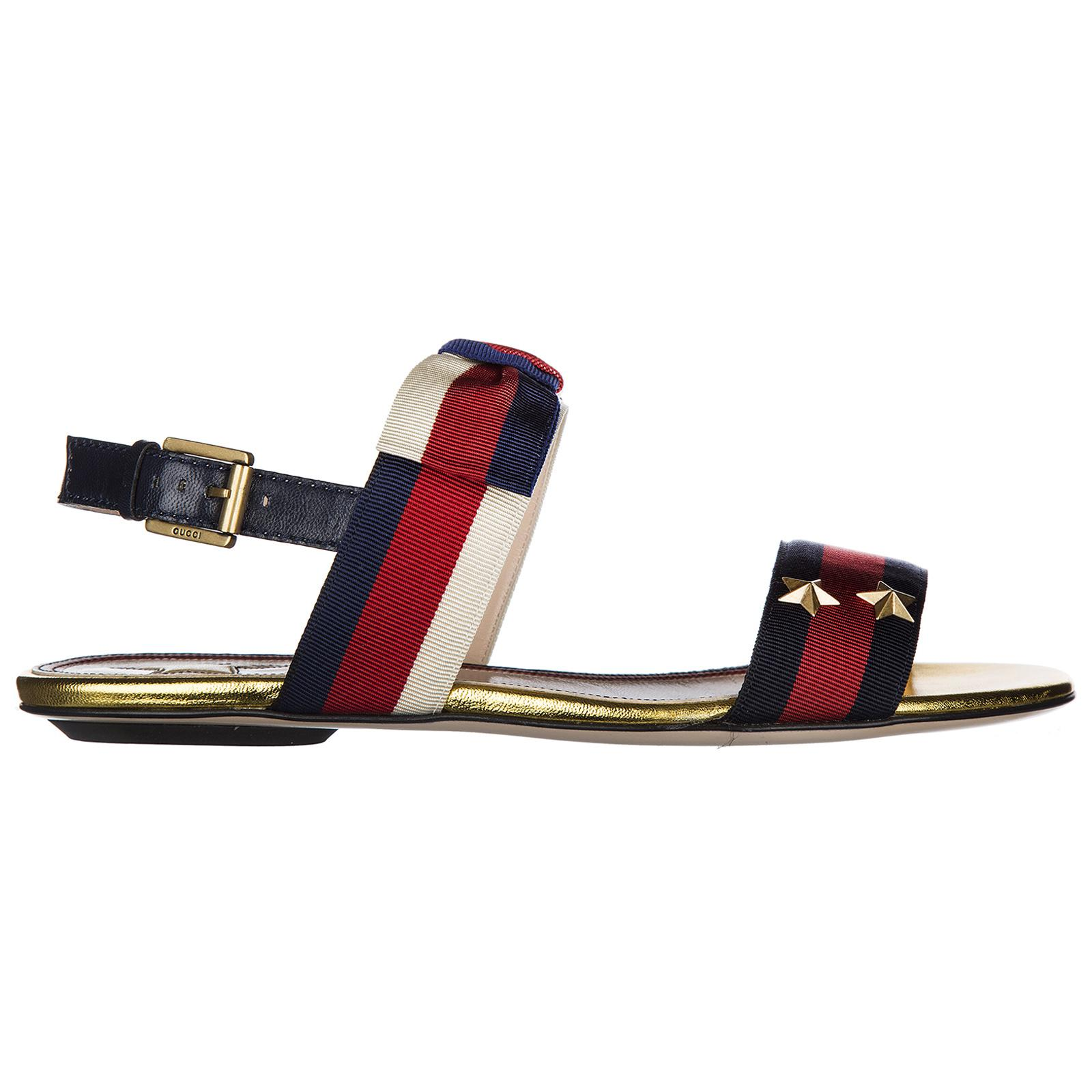 21102238638f Lyst - Gucci Leather Sandals Sylvie Web - Save 17.041800643086816%