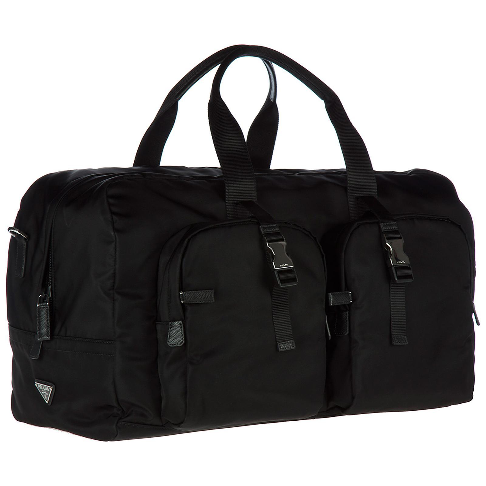 6b29afd62833 66e2d 49fef spain prada black travel duffle weekend shoulder bag nylon for  men lyst. view fullscreen 953c6 ...