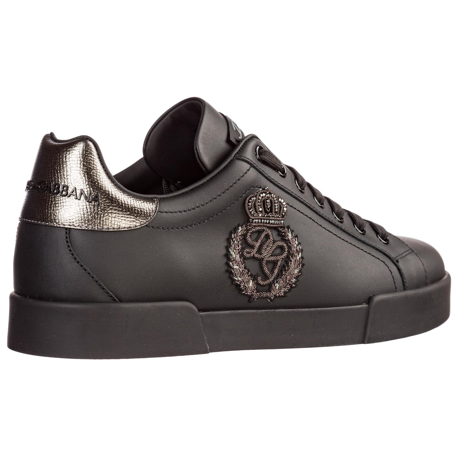 Shoes Leather Trainers Sneakers in Nero