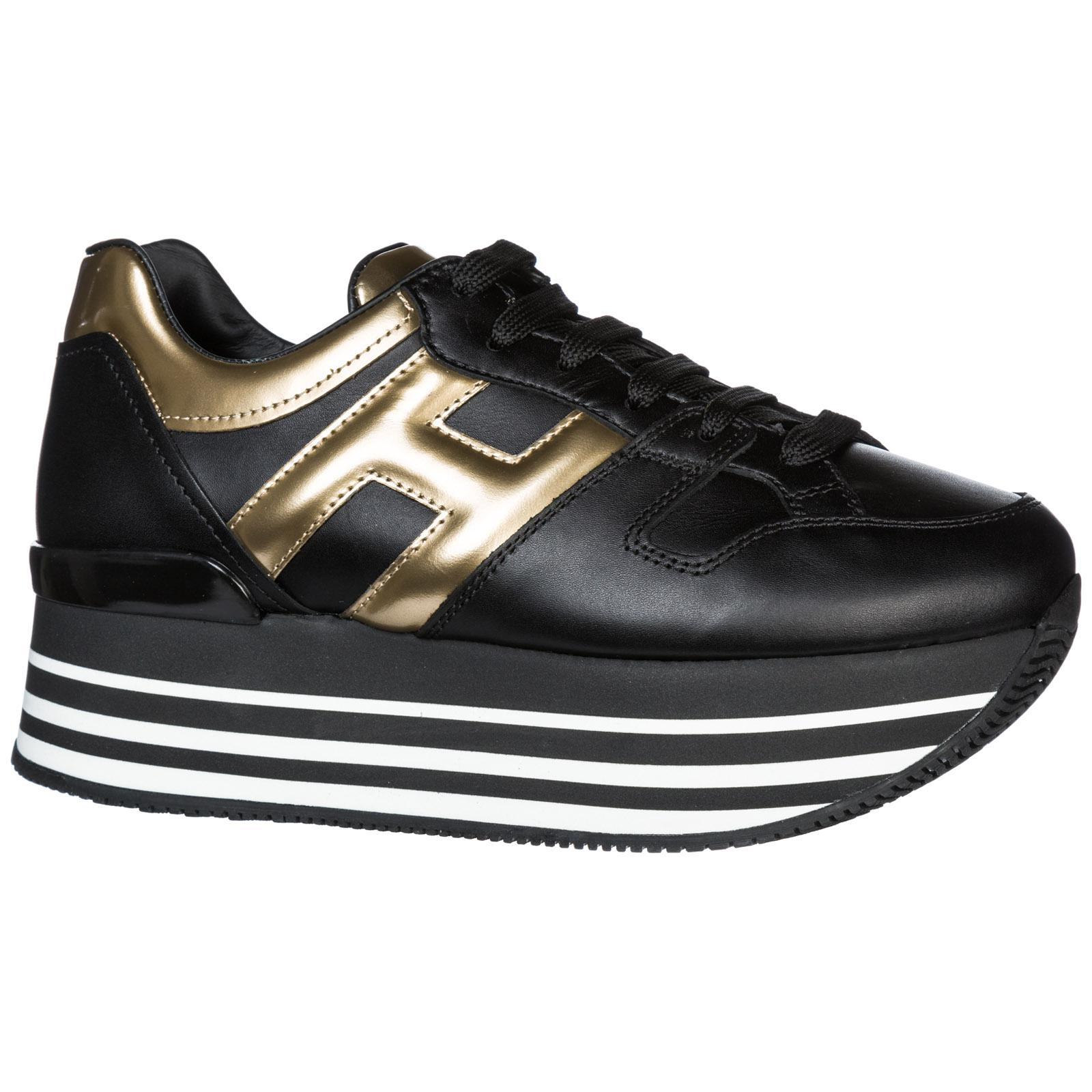 Hogan Leather Maxi H222 Black And Golden Sneakers - Lyst