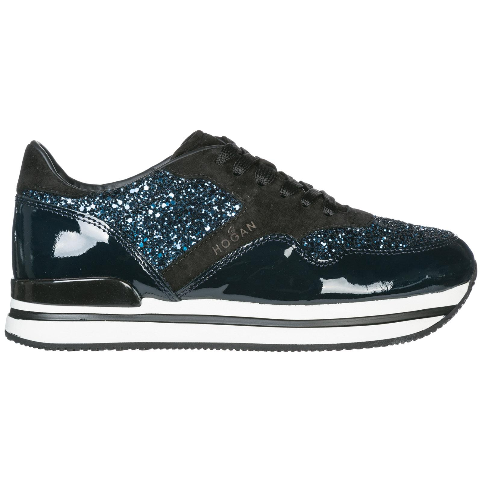 Hogan Women's Shoes Leather Trainers Sneakers H222 in Blue - Lyst