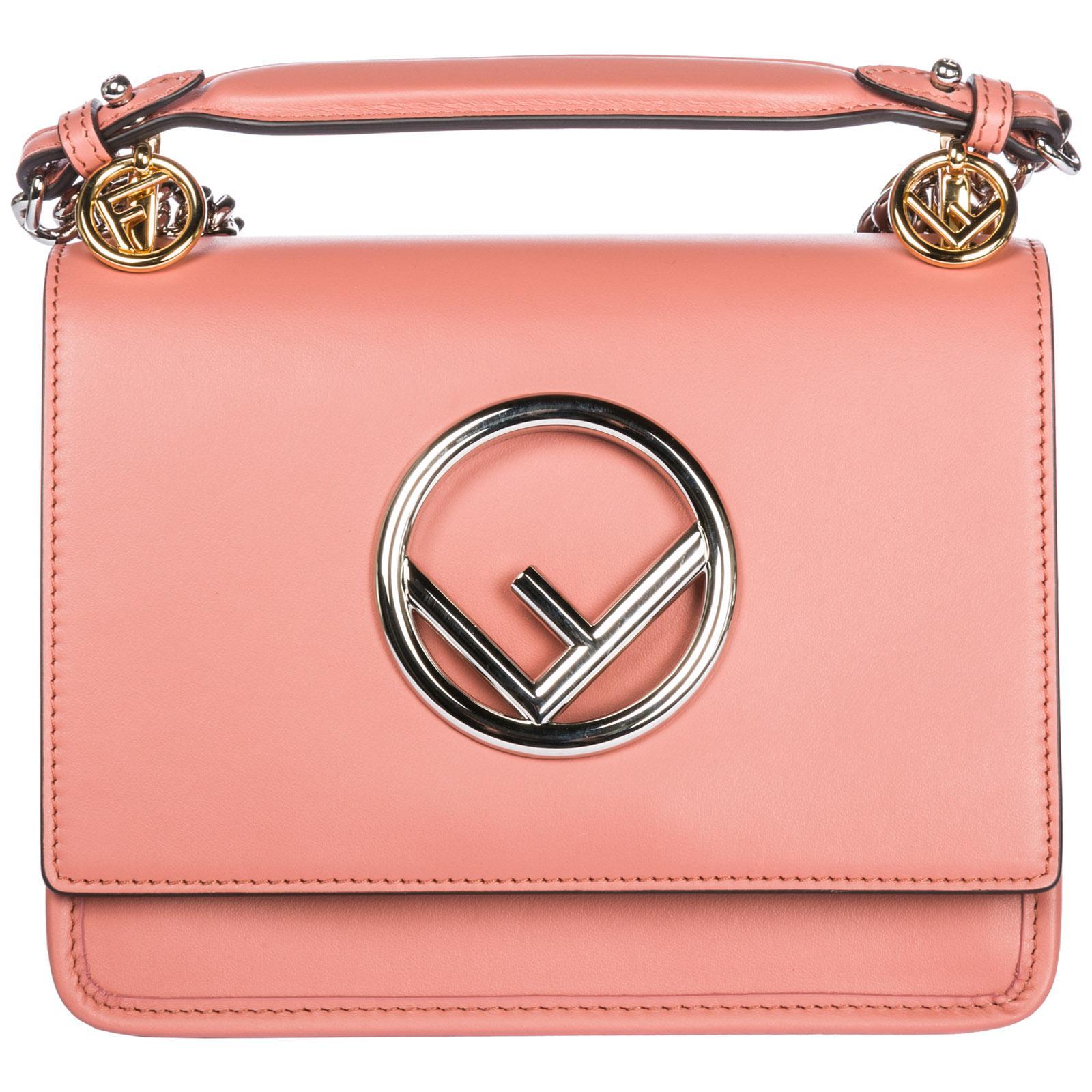 8cae8adbad07 Lyst - Fendi Leather Shoulder Bag Kan I Piccola Logo in Pink