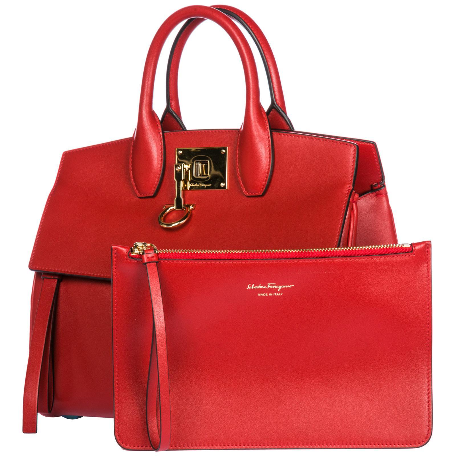 9802a368bce9 Ferragamo - Red Leather Handbag Shopping Bag Purse Studio Bag - Lyst. View  fullscreen