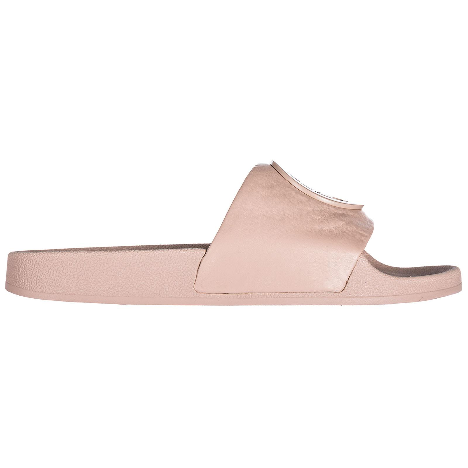 ecf386a05 Tory Burch 10mm Lina Leather Logo Slide Sandals in Pink - Save 54 ...