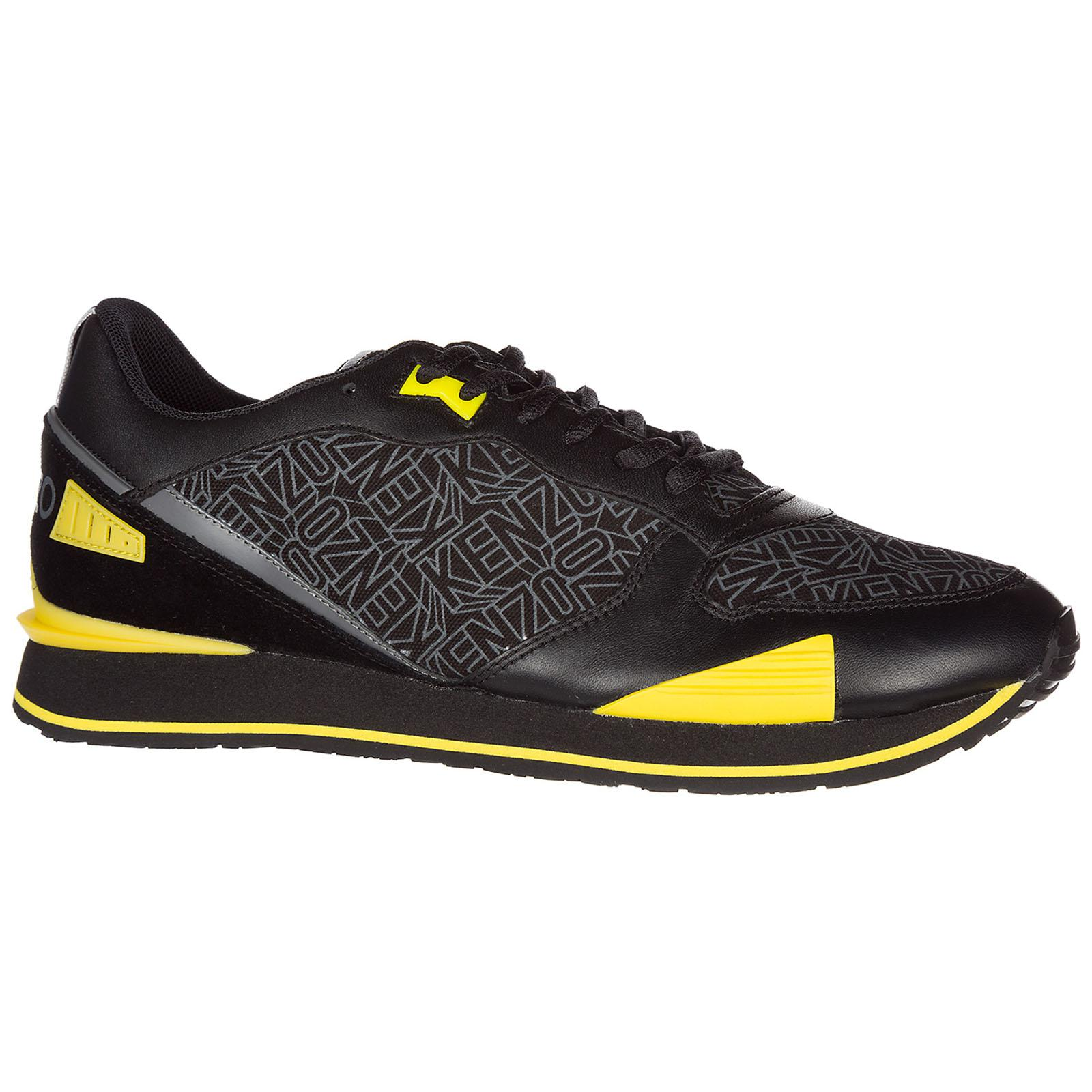 KENZO Shoes Leather Trainers Sneakers Running H17 Flying Logo in Nero (Black) for Men