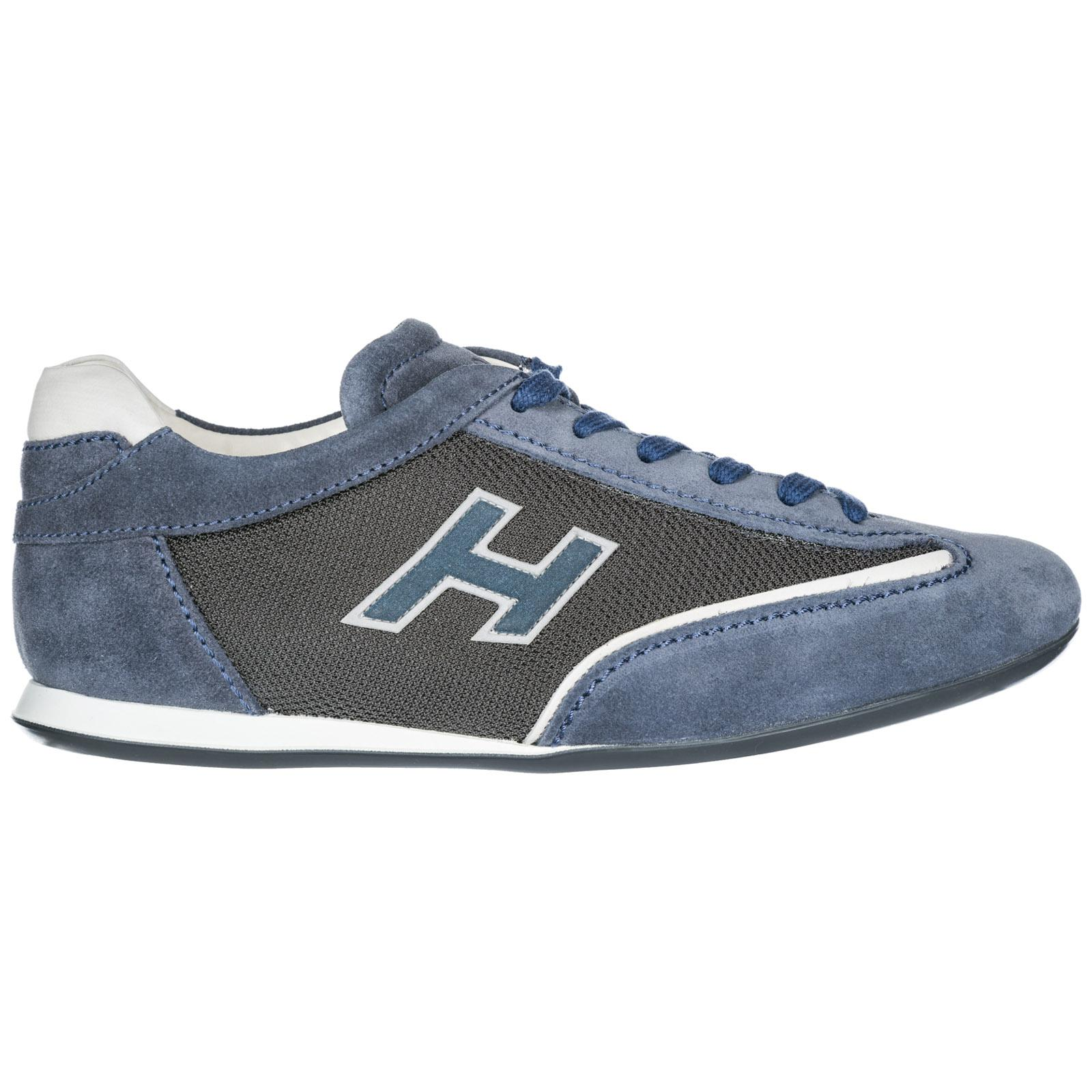 Hogan Shoes Suede Trainers Sneakers Olympia Slash H Flock in Blue ...