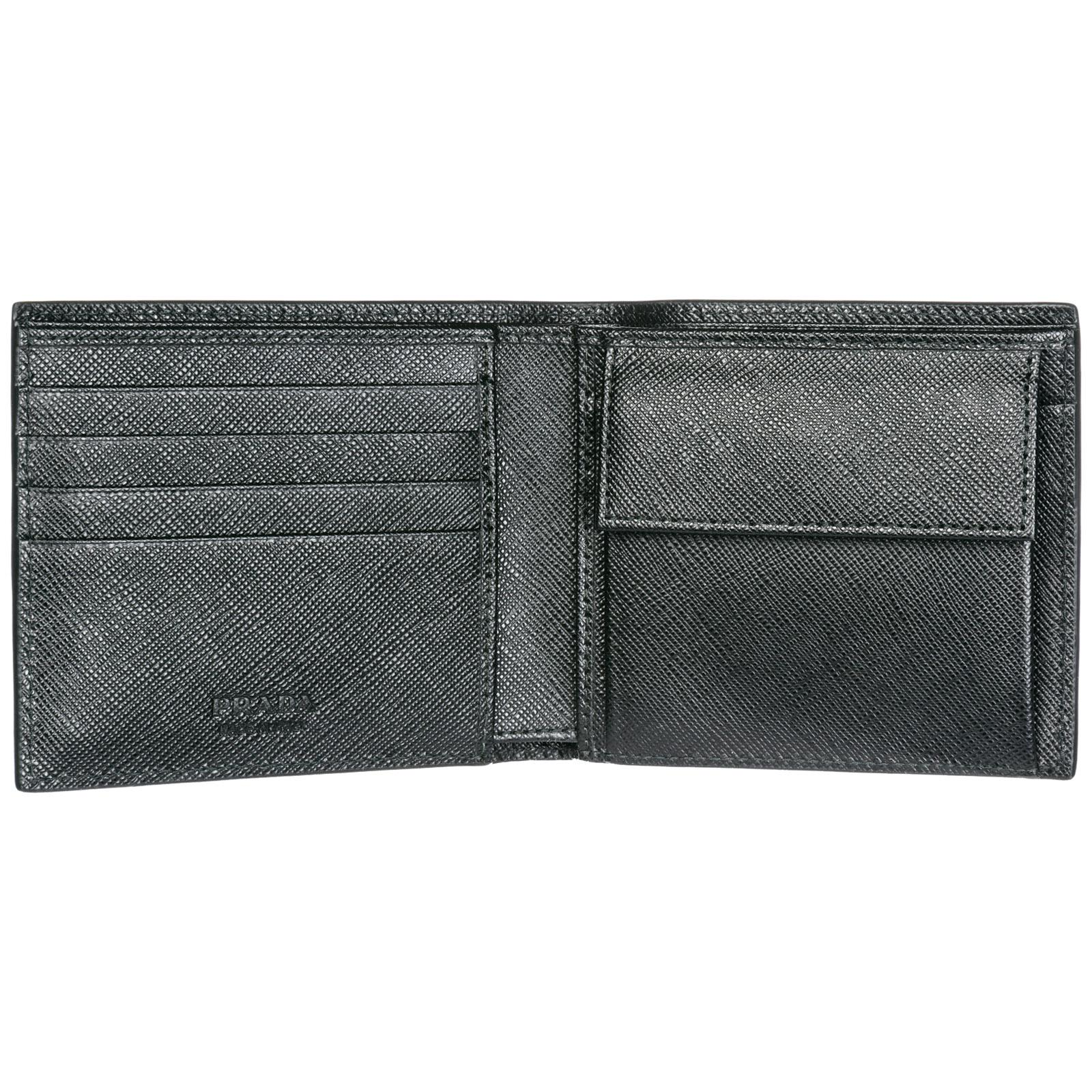 c8643cce5508 Prada - Black Wallet Genuine Leather Coin Case Holder Purse Card Bifold for  Men - Lyst. View fullscreen