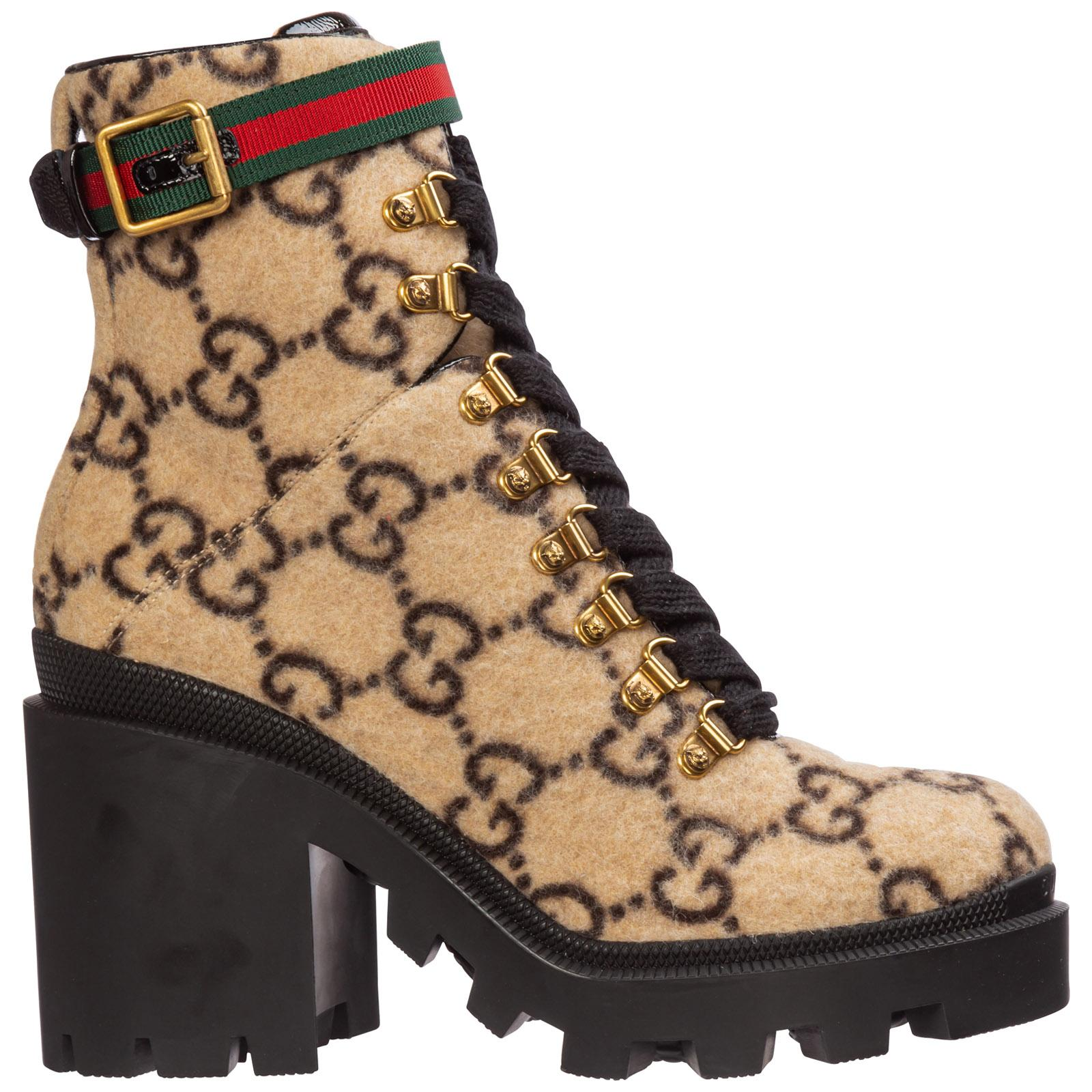 Gucci GG Wool Ankle Boot in Beige