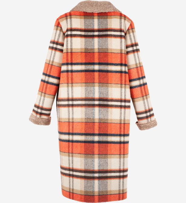 Manteau Galanterie mi-long imprimé à carreaux Rene' Derhy en coloris Neutre ckMGT