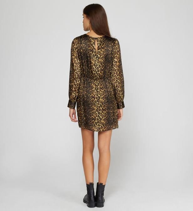 Robe courte droite en soie léopard The Kooples en coloris Marron